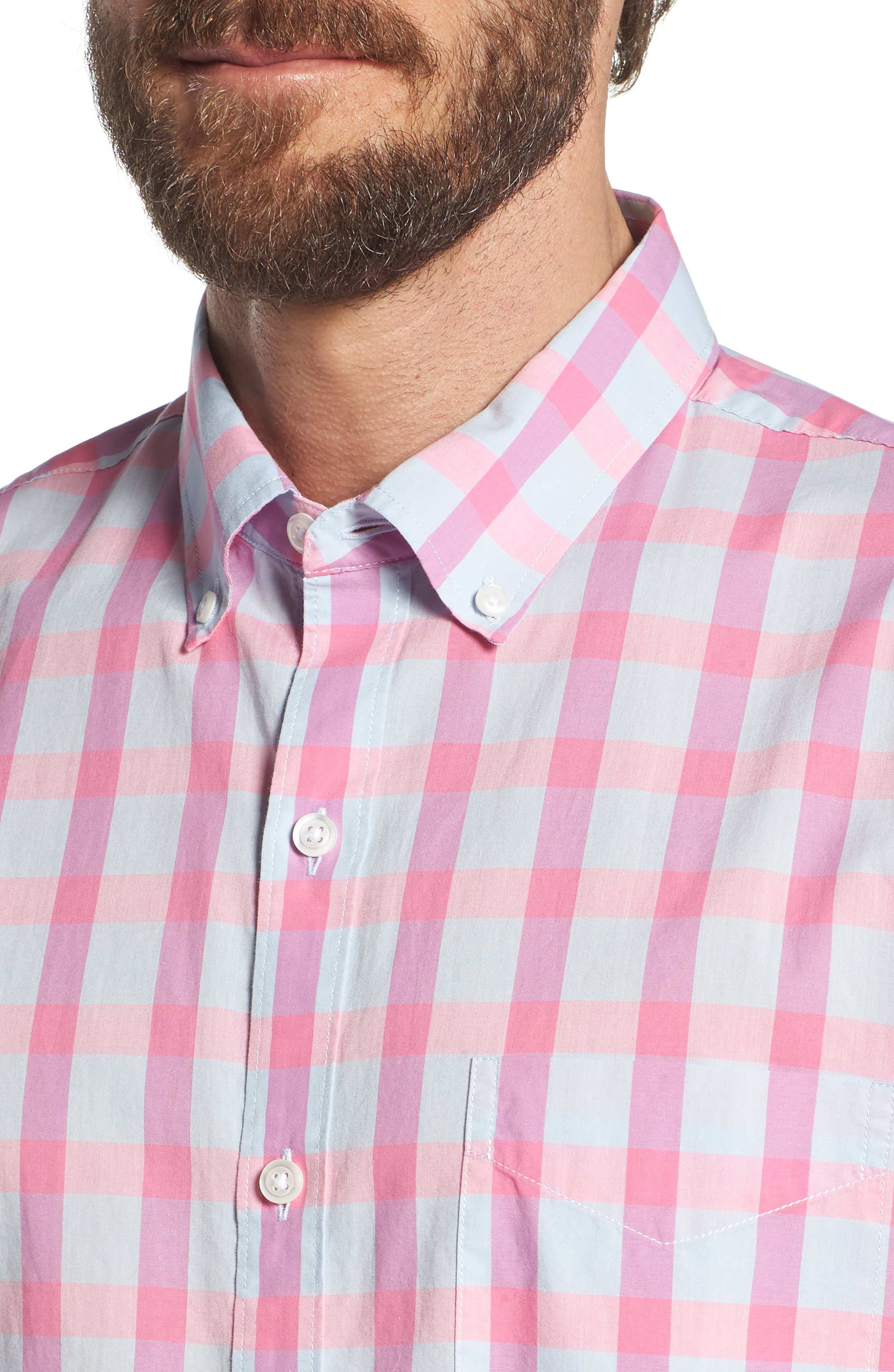 Summerweight Slim Fit Check Sport Shirt,                             Alternate thumbnail 2, color,                             Harris Check - Pink Rocket