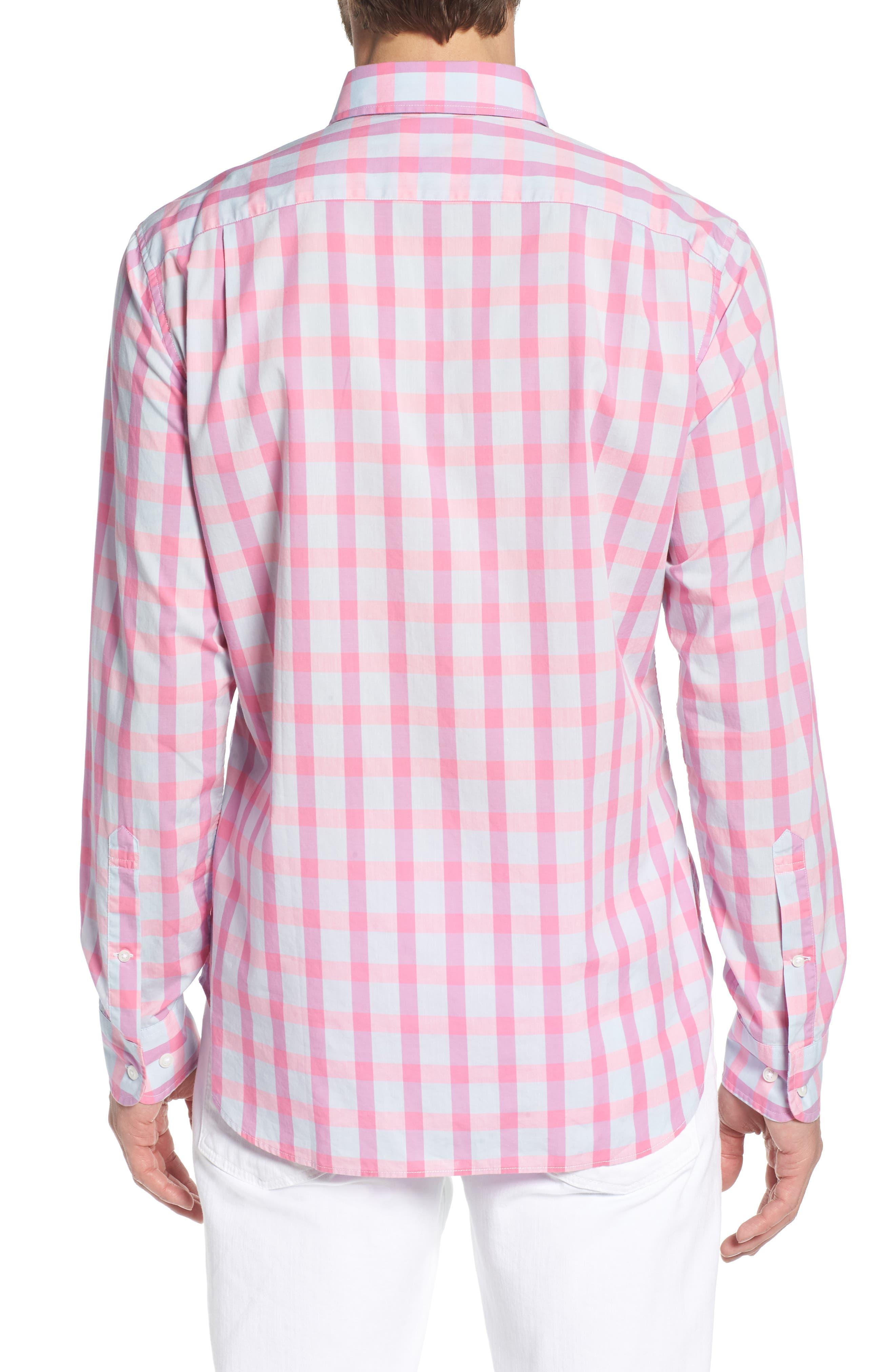 Summerweight Slim Fit Check Sport Shirt,                             Alternate thumbnail 3, color,                             Harris Check - Pink Rocket