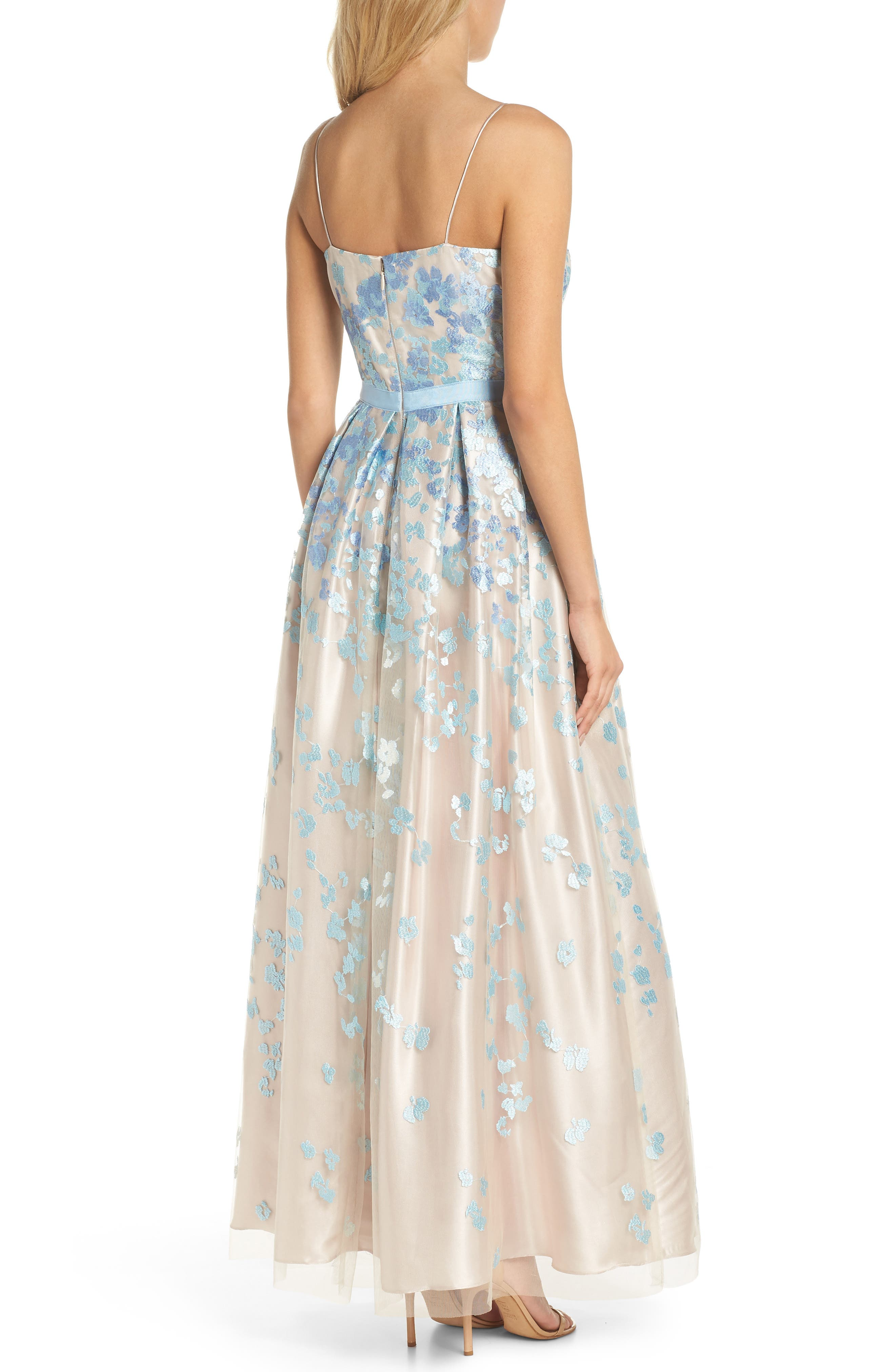 Floral Embroidered Box Pleat Ballgown,                             Alternate thumbnail 2, color,                             Aqua Beige