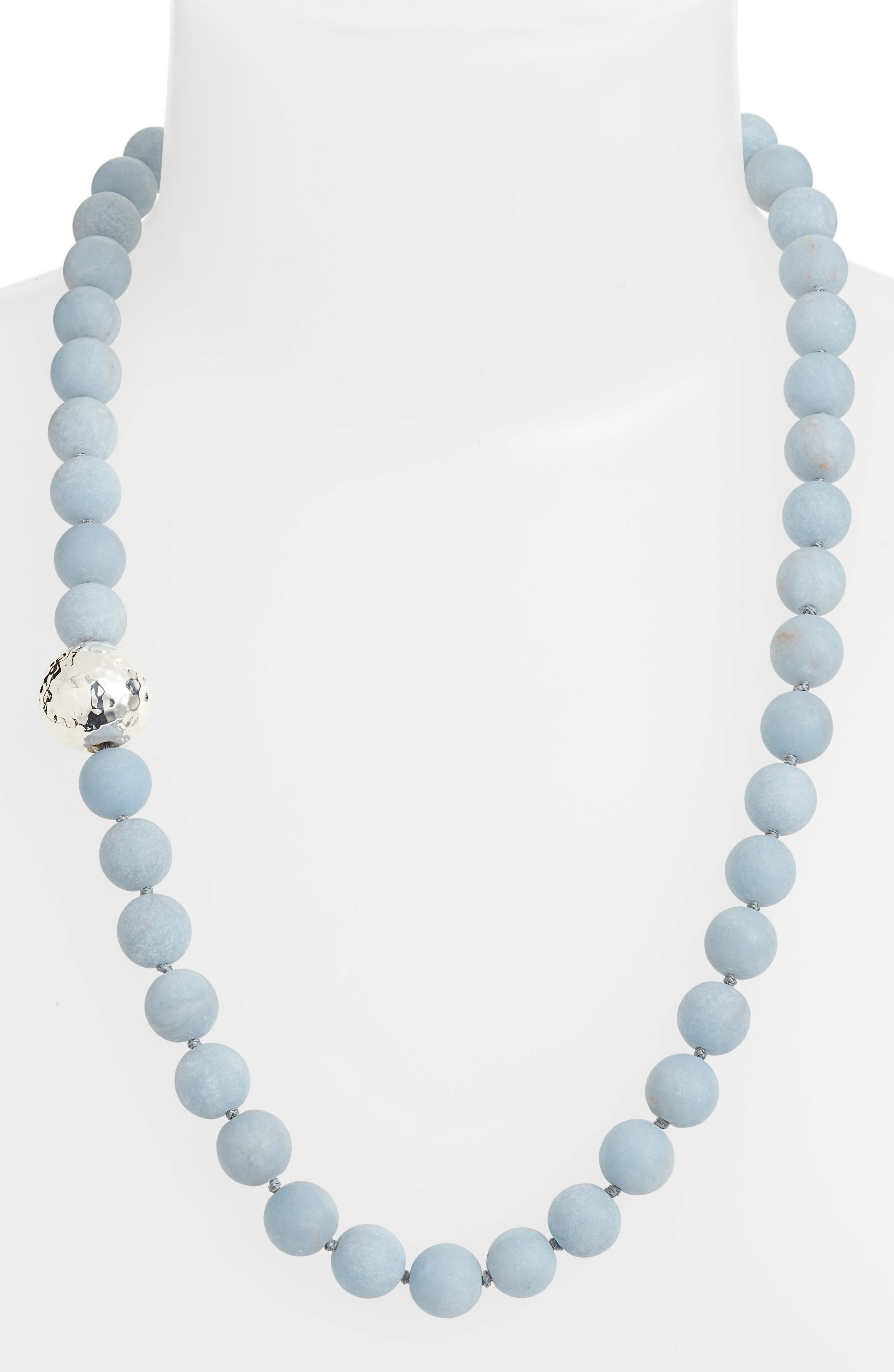 Matte Angelite Necklace,                             Main thumbnail 1, color,                             Blue/ Silver