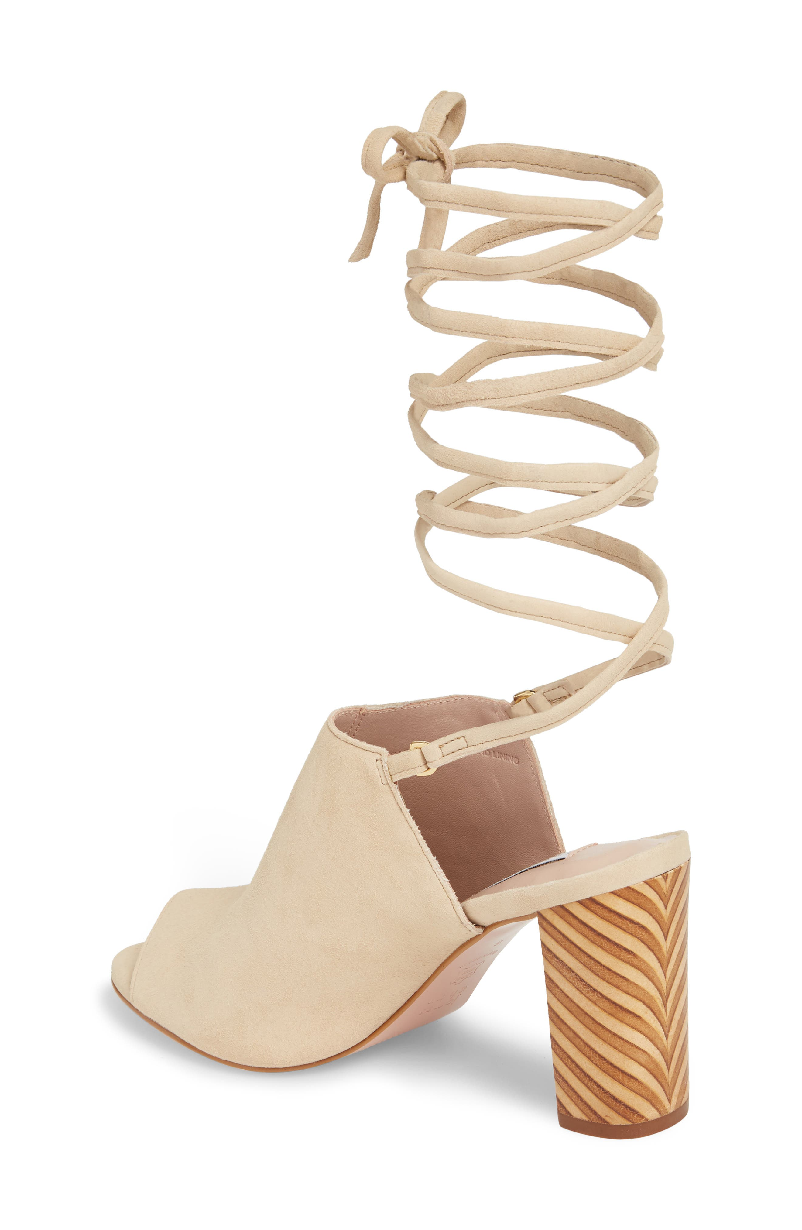 Allegra Ankle Wrap Sandal,                             Alternate thumbnail 2, color,                             Sand Suede