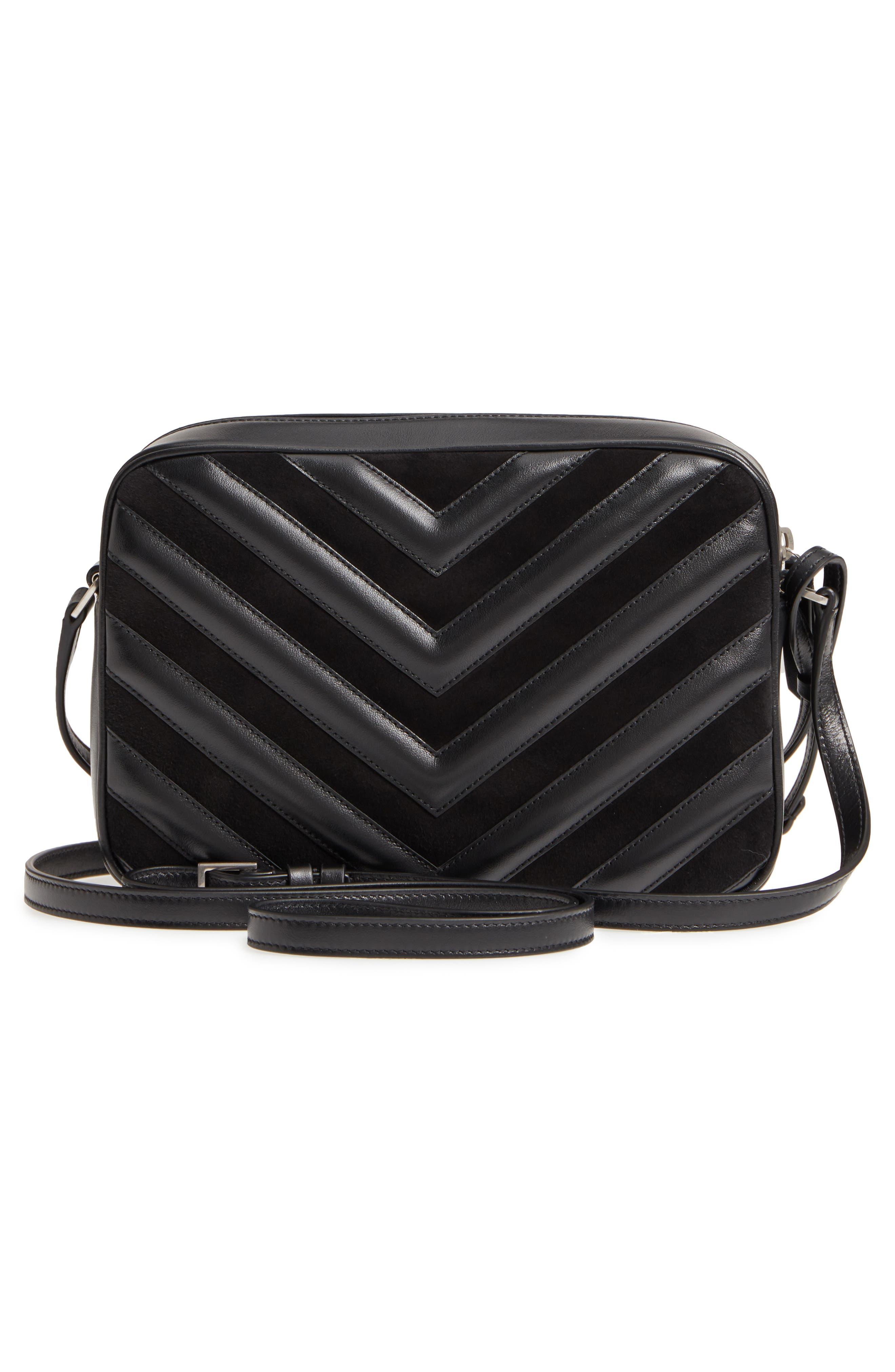 Medium Lou Leather & Suede Camera Bag,                             Alternate thumbnail 3, color,                             Noir