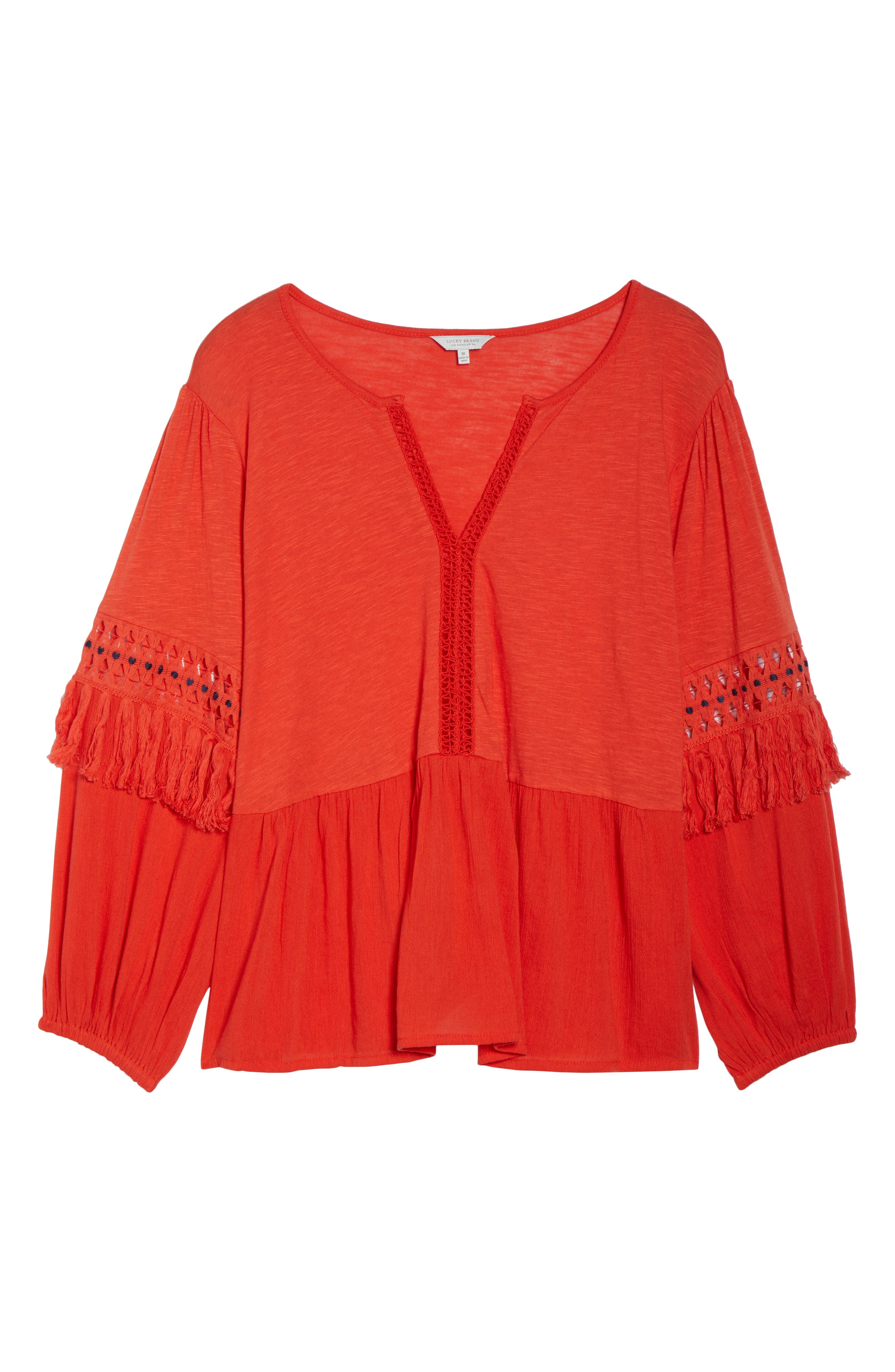 Cutout Peasant Top,                             Alternate thumbnail 7, color,                             Red Clay