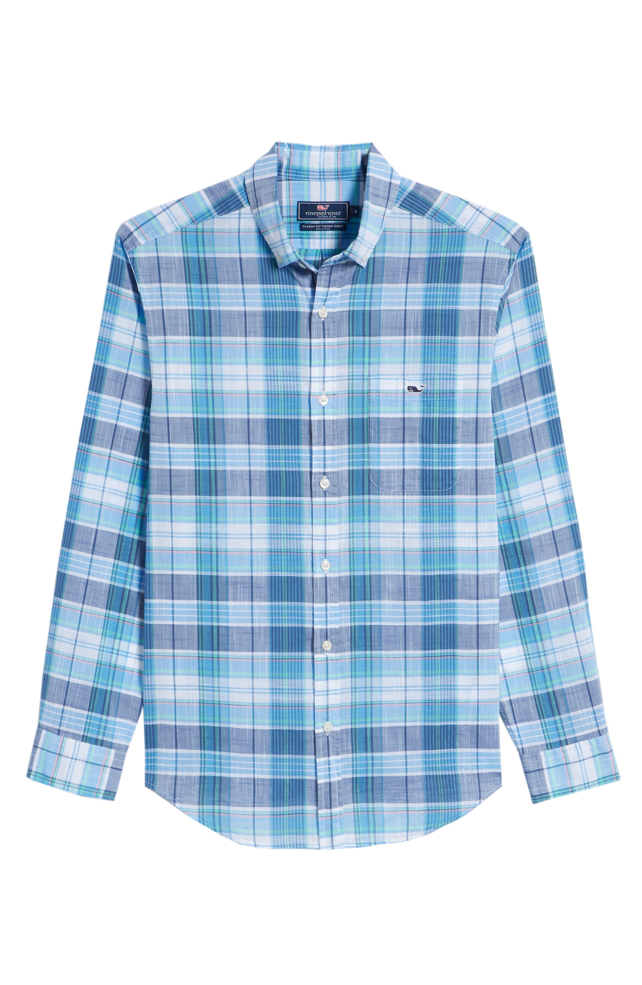 Smith Point Tucker Classic Fit Plaid Sport Shirt,                             Alternate thumbnail 3, color,                             Moonshine
