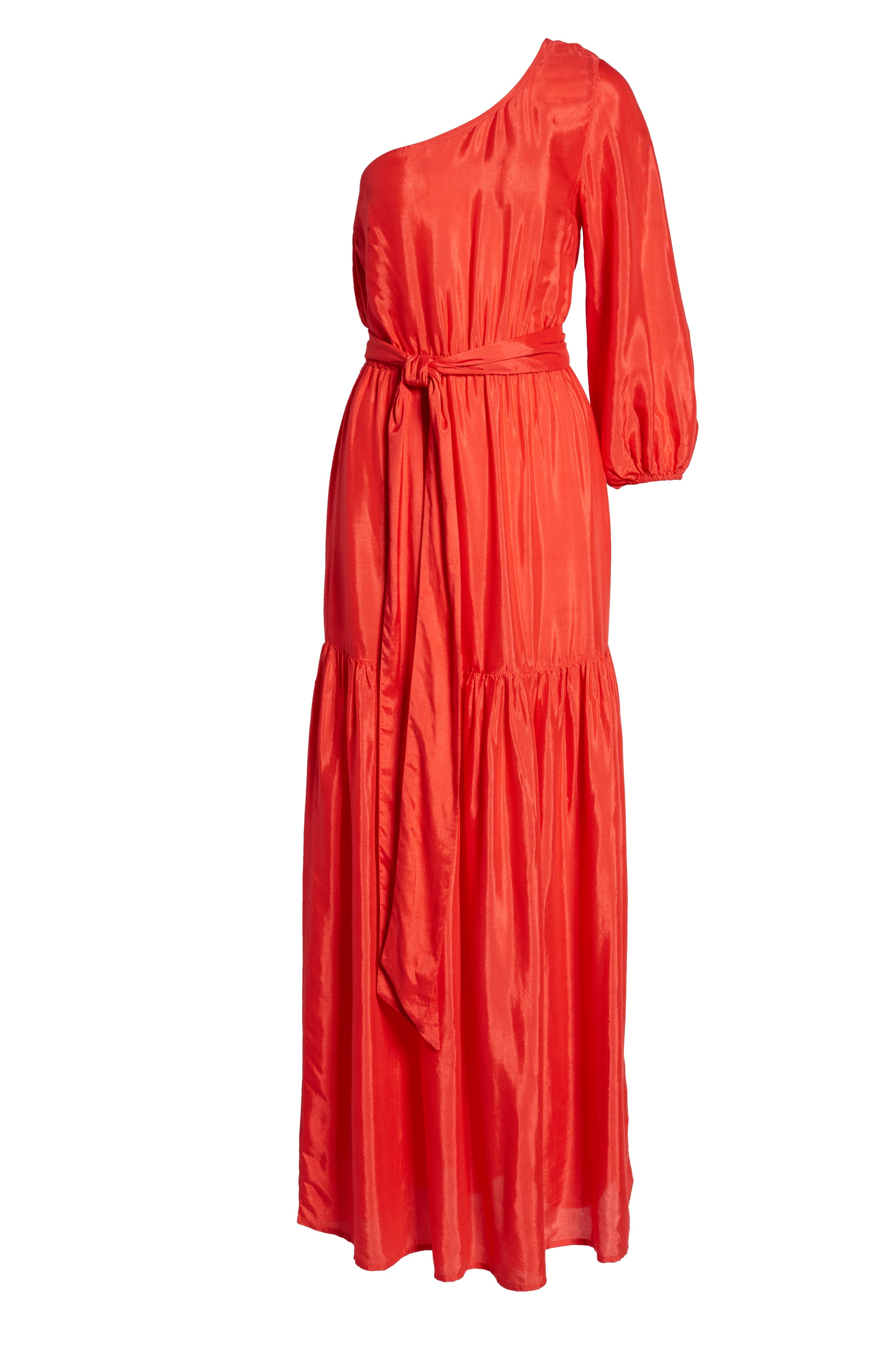 One-Shoulder Maxi Dress,                             Alternate thumbnail 7, color,                             Bright Red