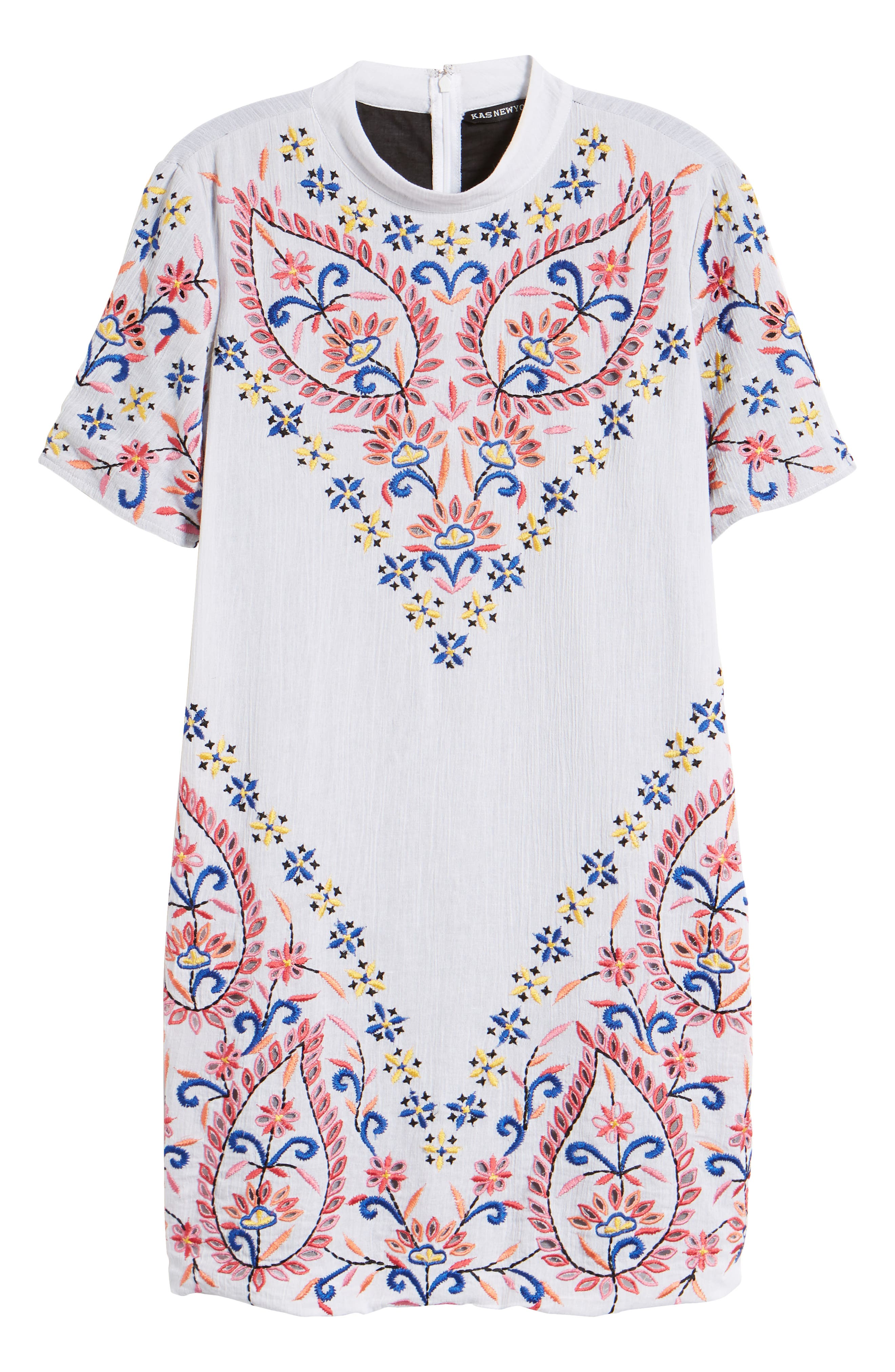 Fleur Embroidered Cotton Minidress,                             Alternate thumbnail 6, color,                             White