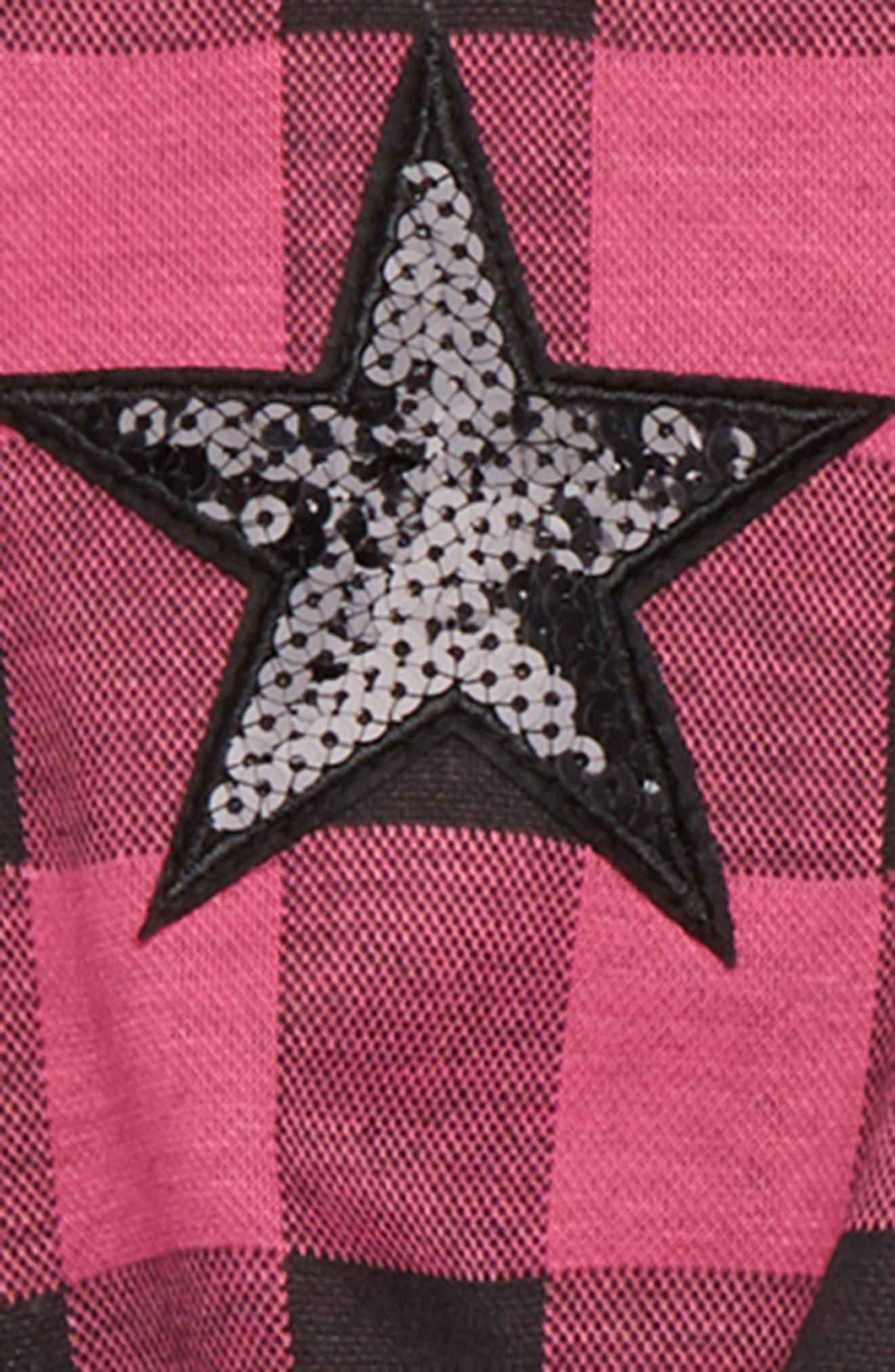 Plaid Sequin Star Sweater, Tutu Tunic & Leggings Set,                             Alternate thumbnail 2, color,                             Pink/ Black
