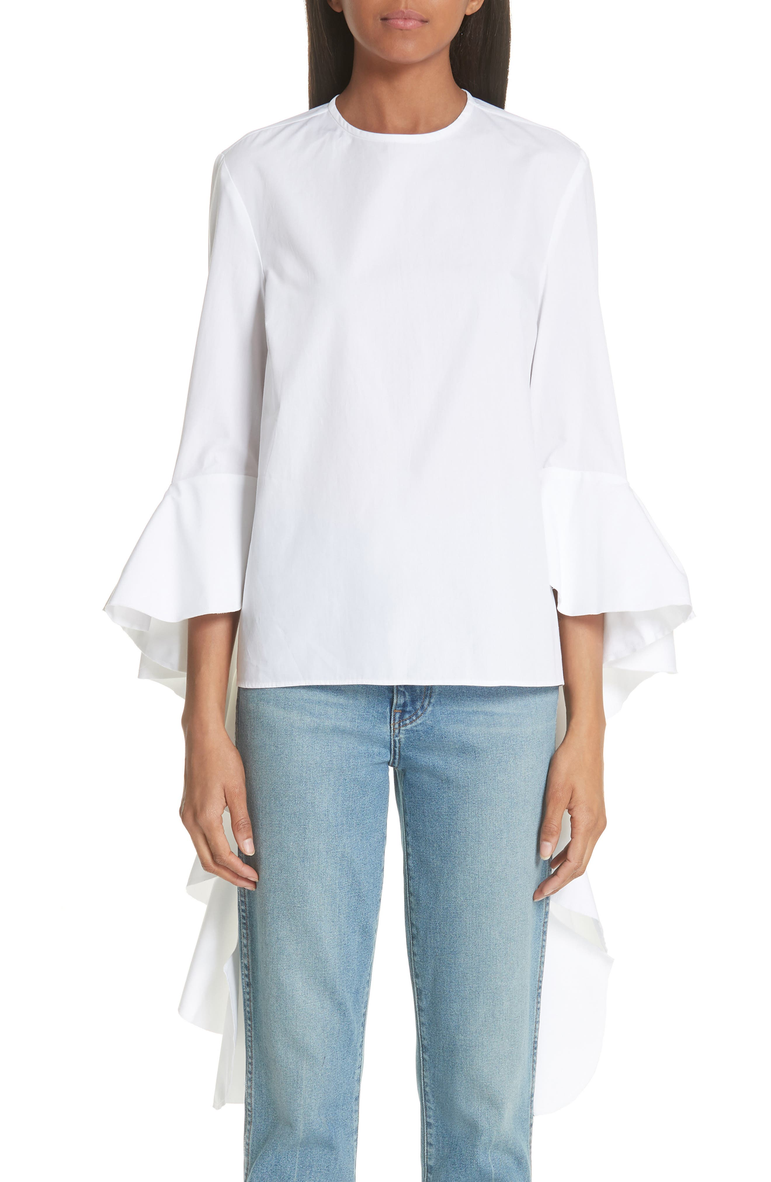 Emmeline Frill Sleeve Top,                         Main,                         color, White