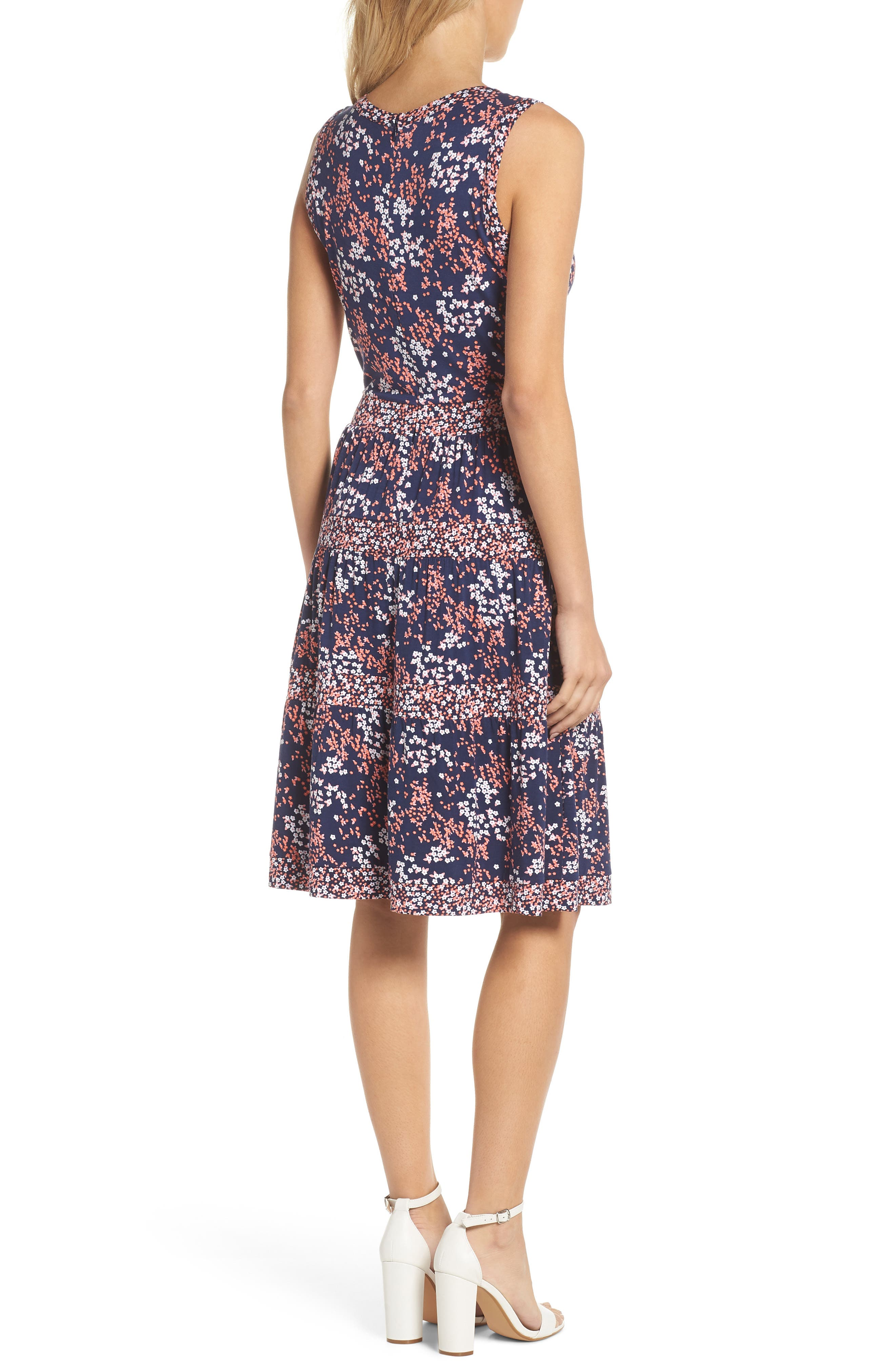 Blooms Border Tiered Dress,                             Alternate thumbnail 2, color,                             True Navy/ Bright Blush