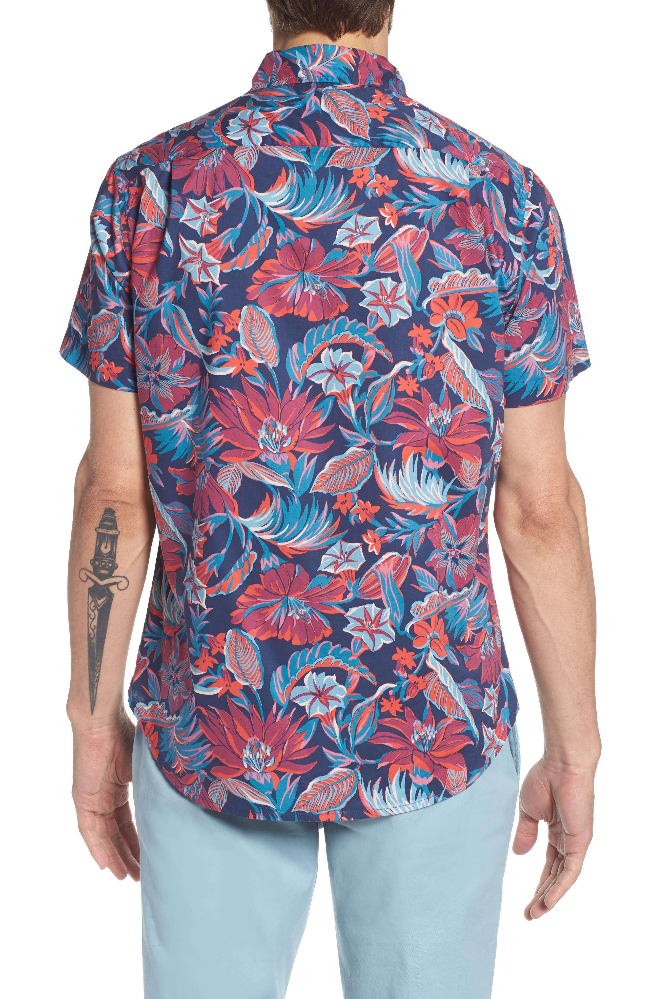 Slim Fit Print Sport Shirt,                             Alternate thumbnail 3, color,                             Pavilion Floral - Deep Pacific