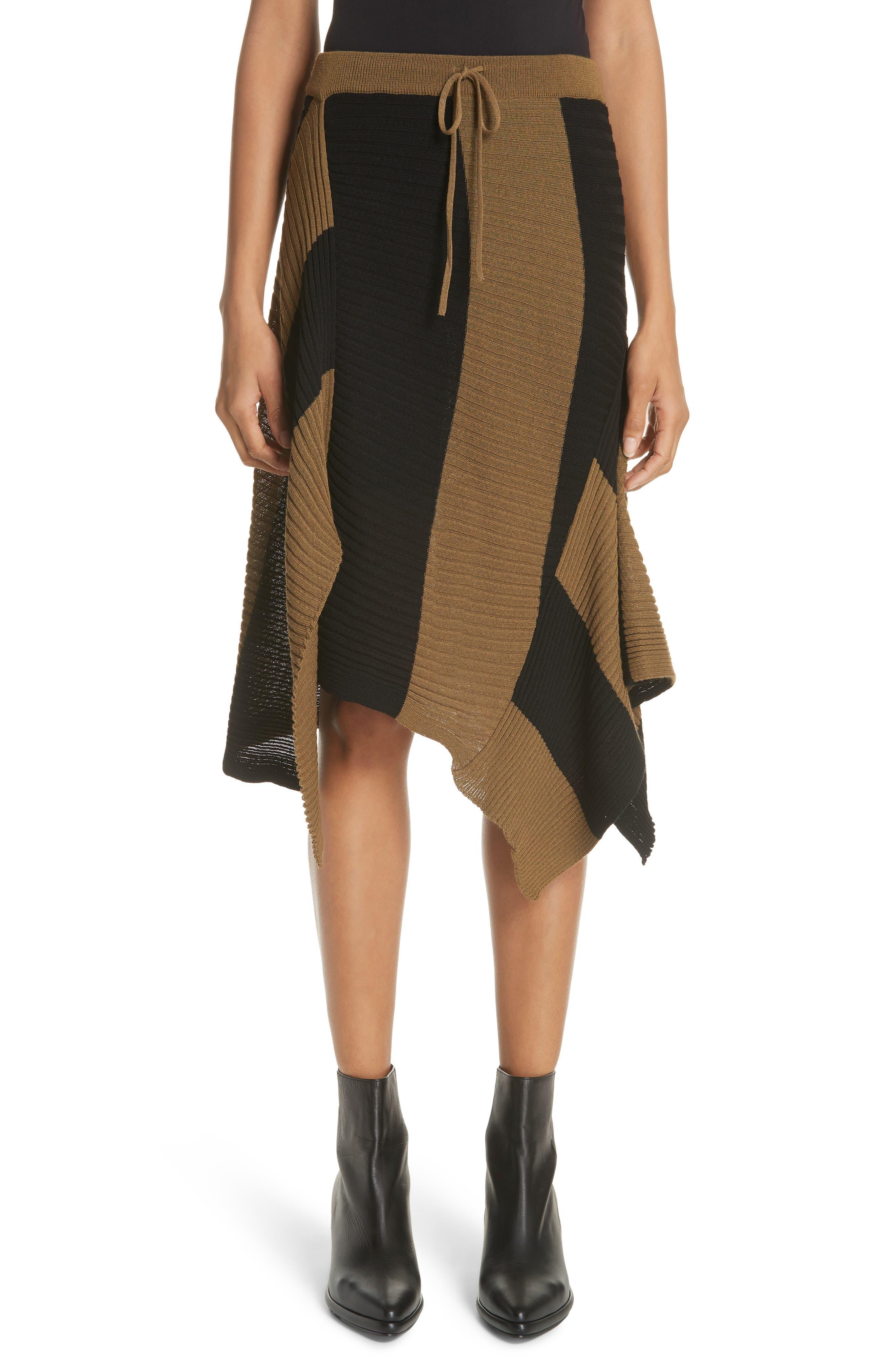 Marques'Almeida Draped Skirt,                             Main thumbnail 1, color,                             Khaki/ Black