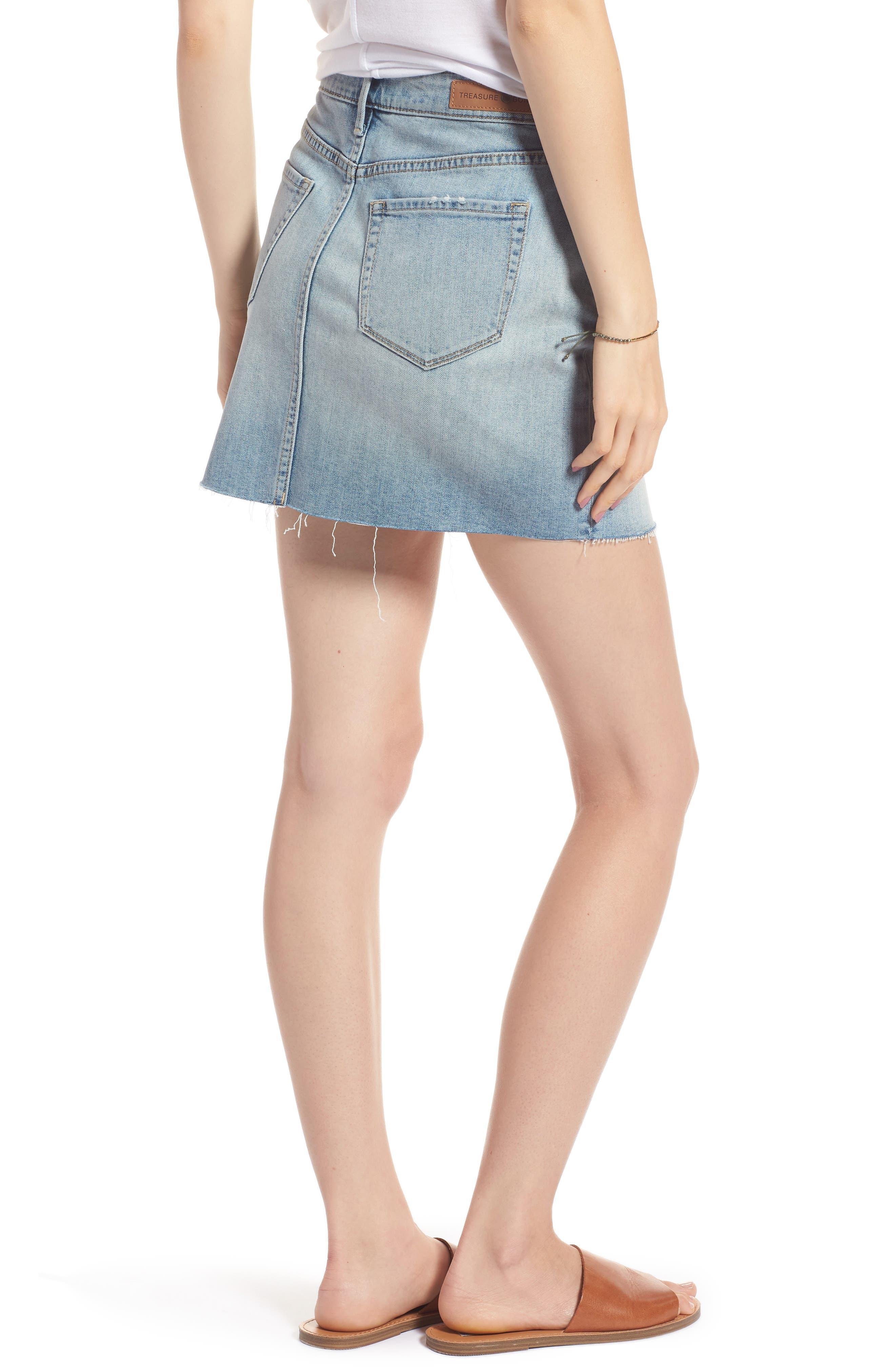 Denim Miniskirt,                             Alternate thumbnail 2, color,                             Gravel Light Vintage