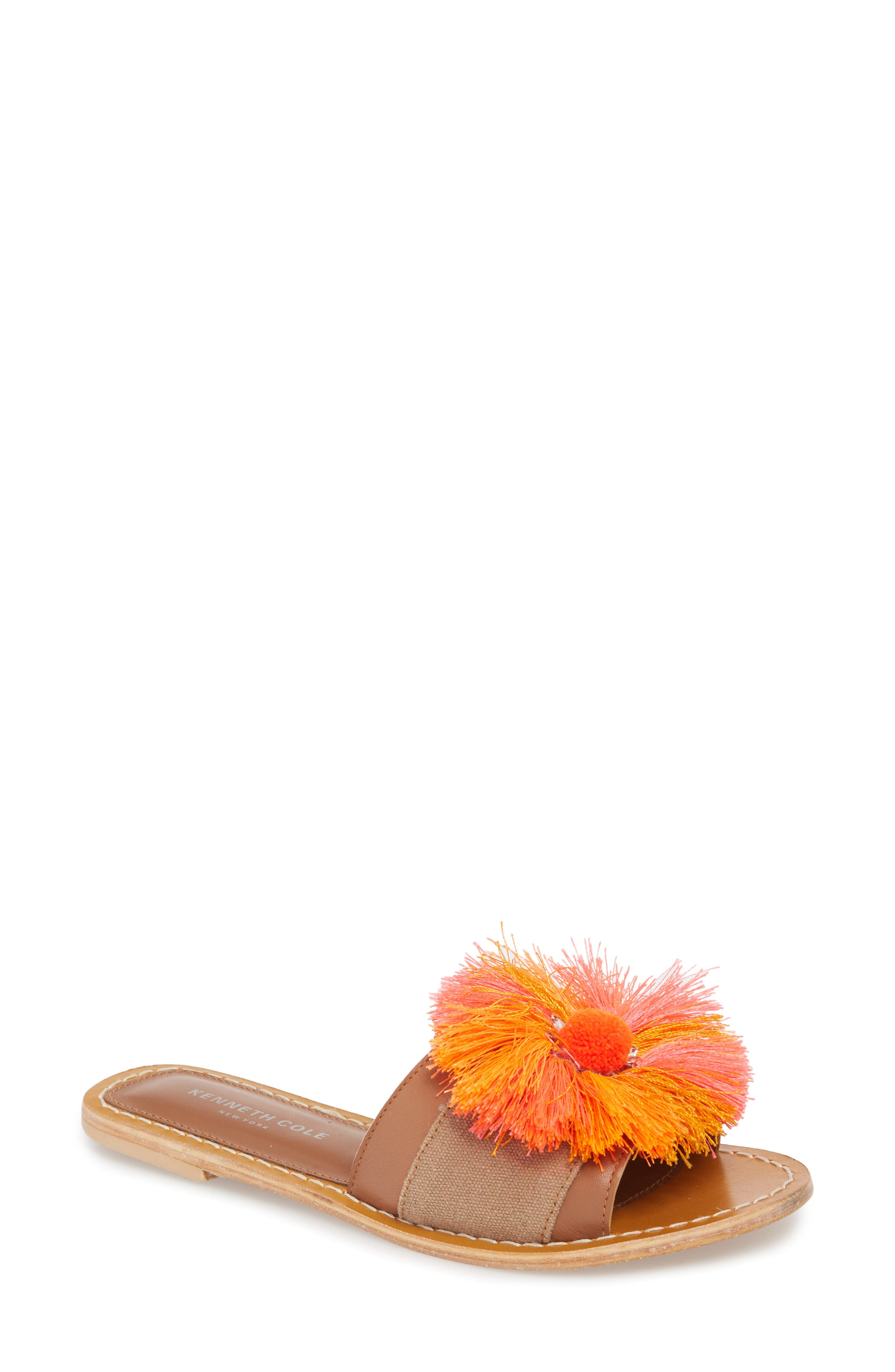 Orton Slide Sandal,                             Main thumbnail 1, color,                             Orange Multi Fabric