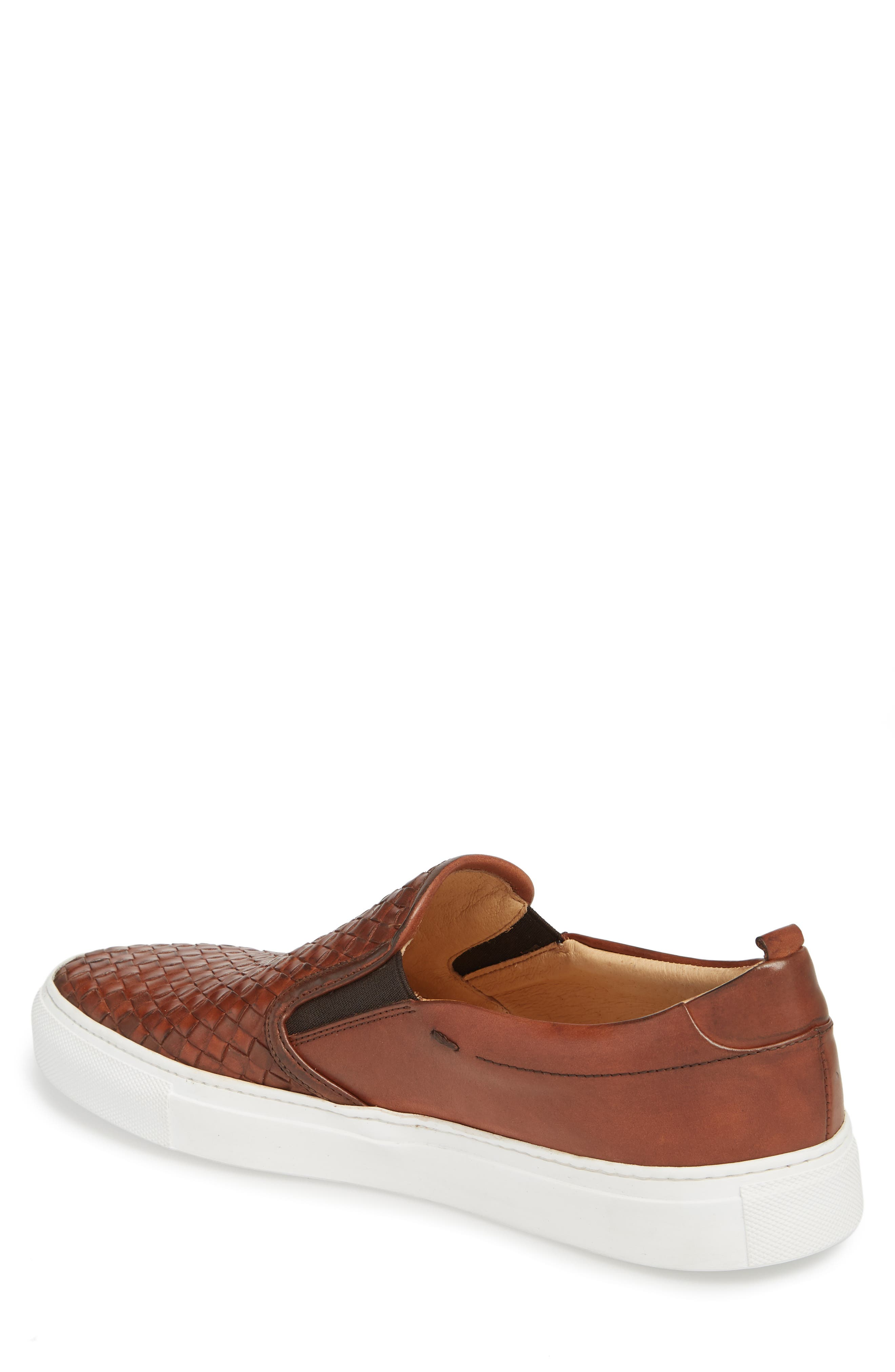Grifyn Woven Slip-On Sneaker,                             Alternate thumbnail 2, color,                             Cognac Leather