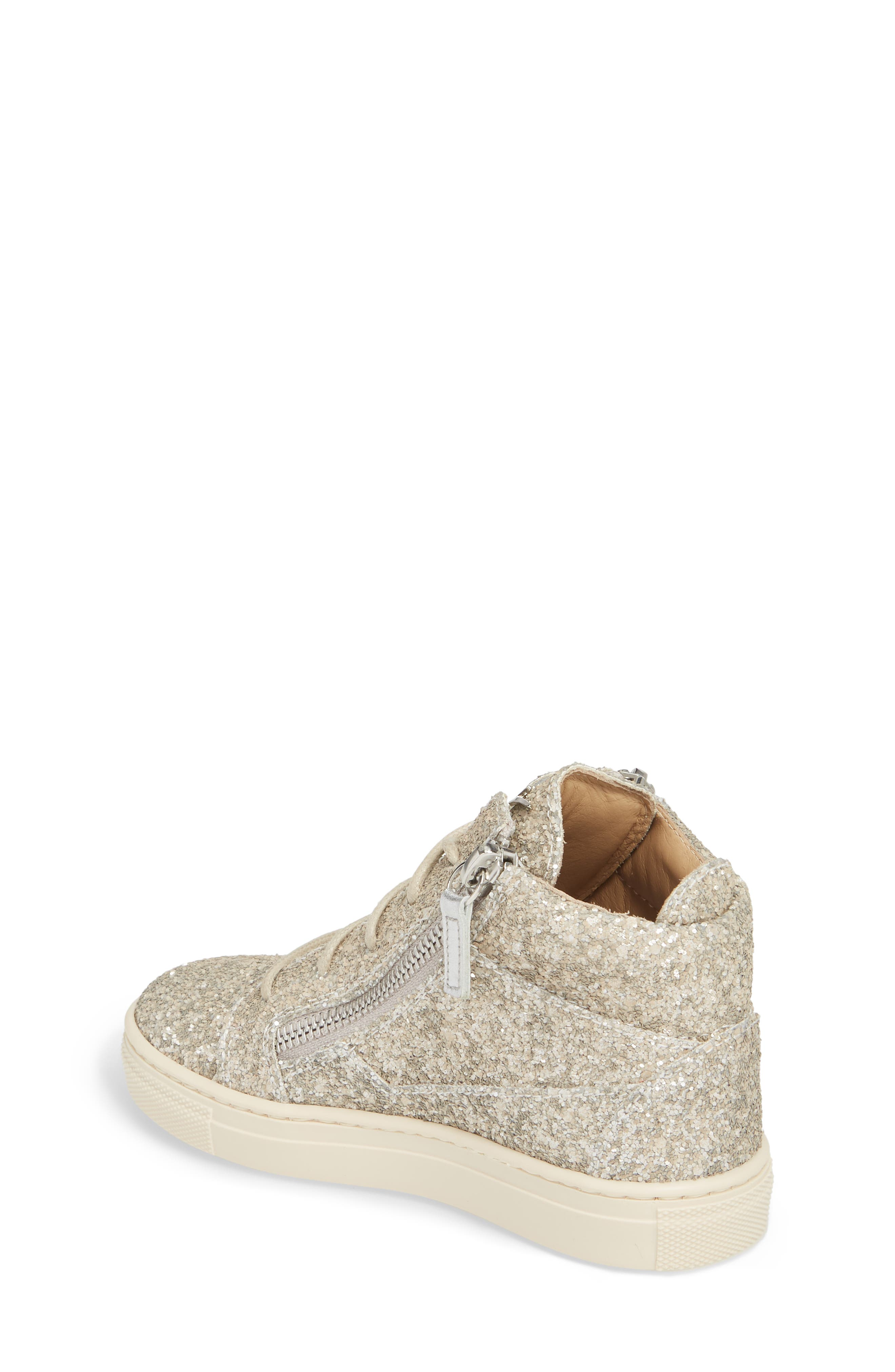 Natalie High Top Sneaker,                             Alternate thumbnail 2, color,                             Silver Glitter