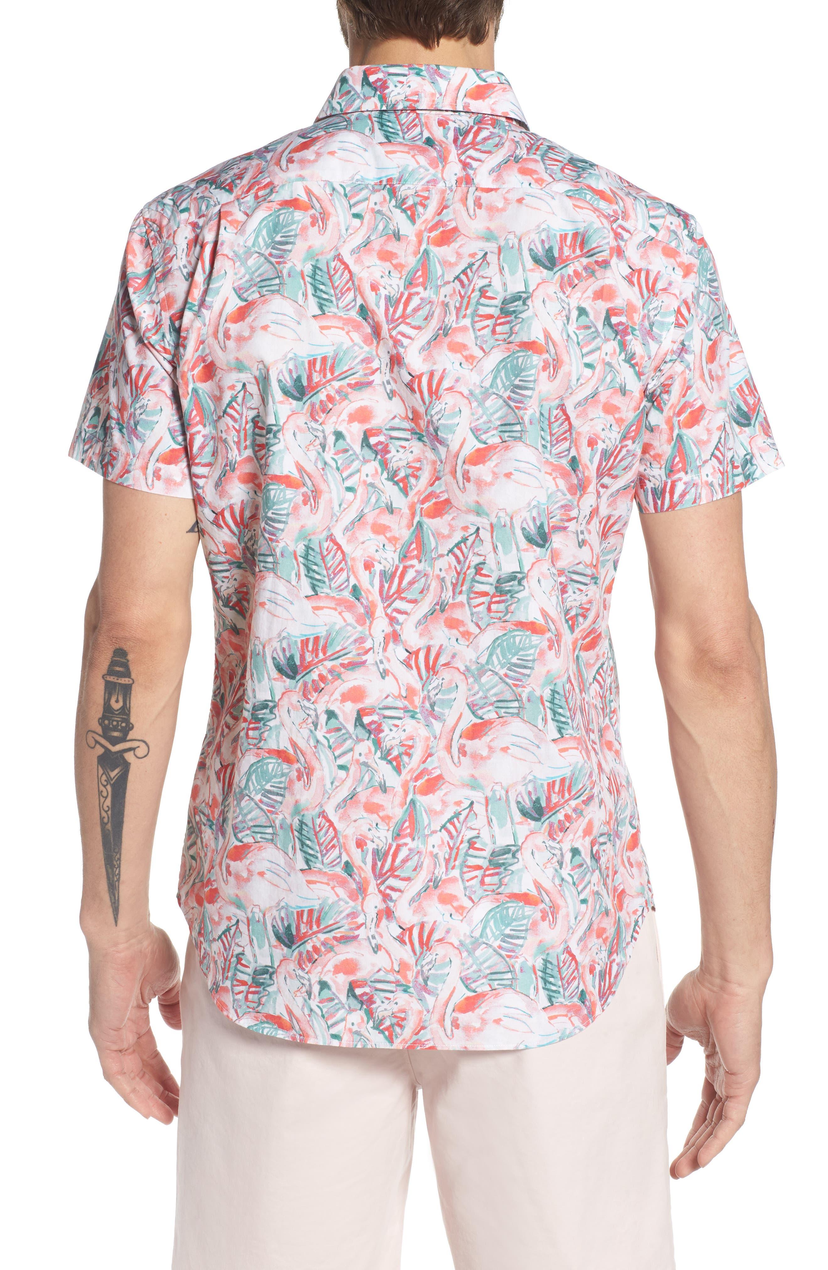 Slim Fit Print Premium Sport Shirt,                             Alternate thumbnail 3, color,                             Painterly Flamingo - Coral Fan