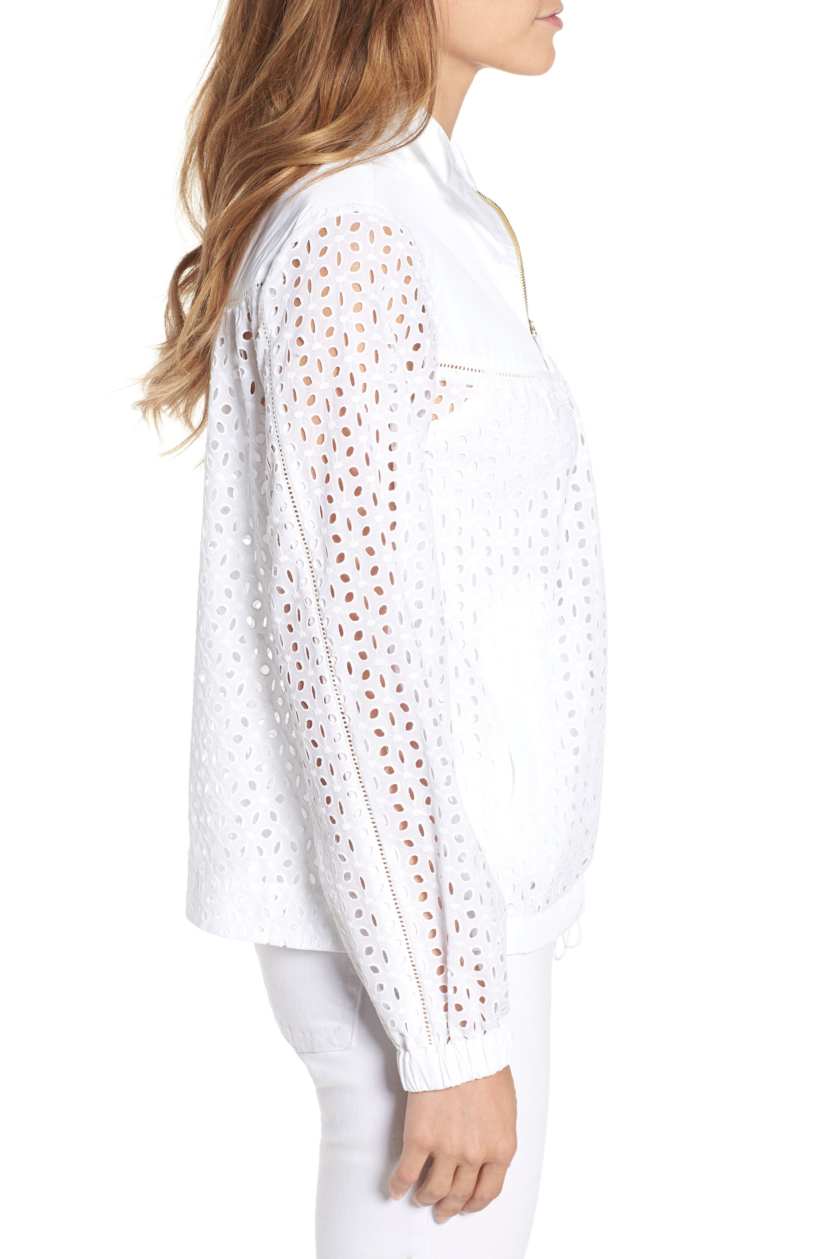Eyelet Jacket,                             Alternate thumbnail 4, color,                             Fresh White
