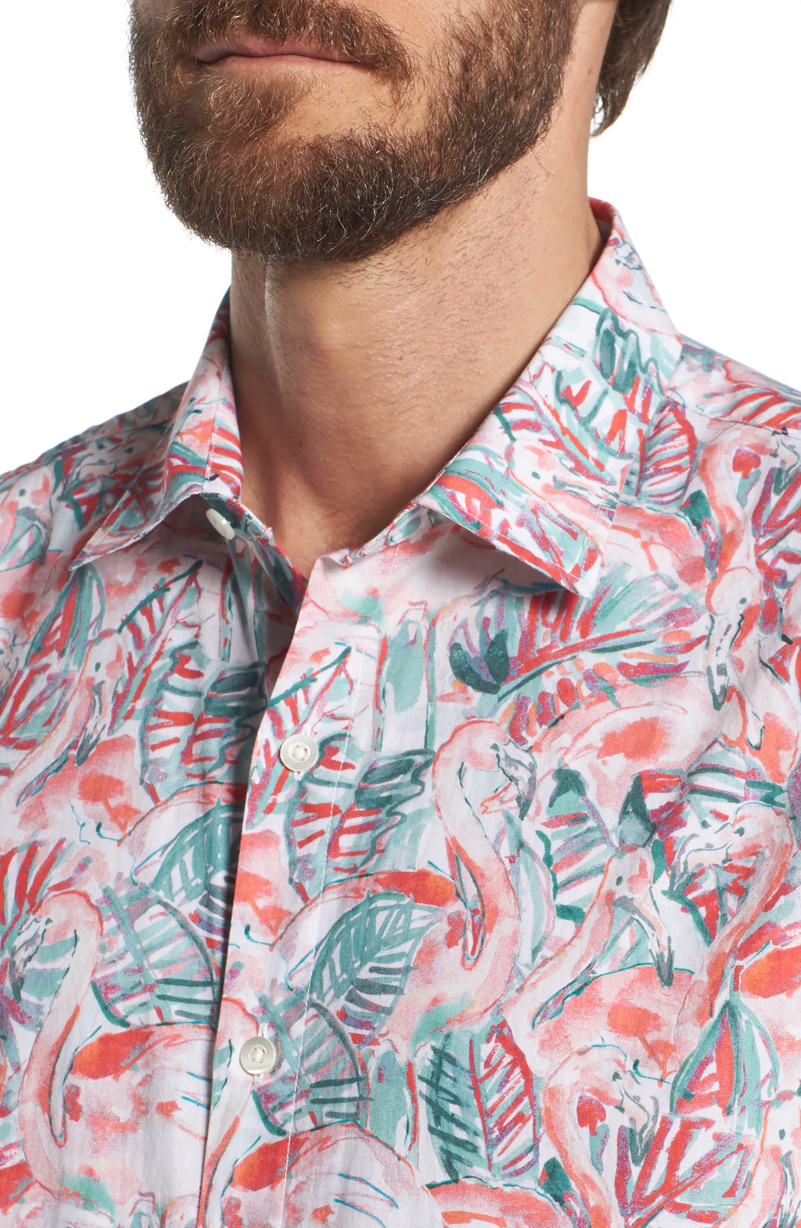 Slim Fit Print Premium Sport Shirt,                             Alternate thumbnail 2, color,                             Painterly Flamingo - Coral Fan