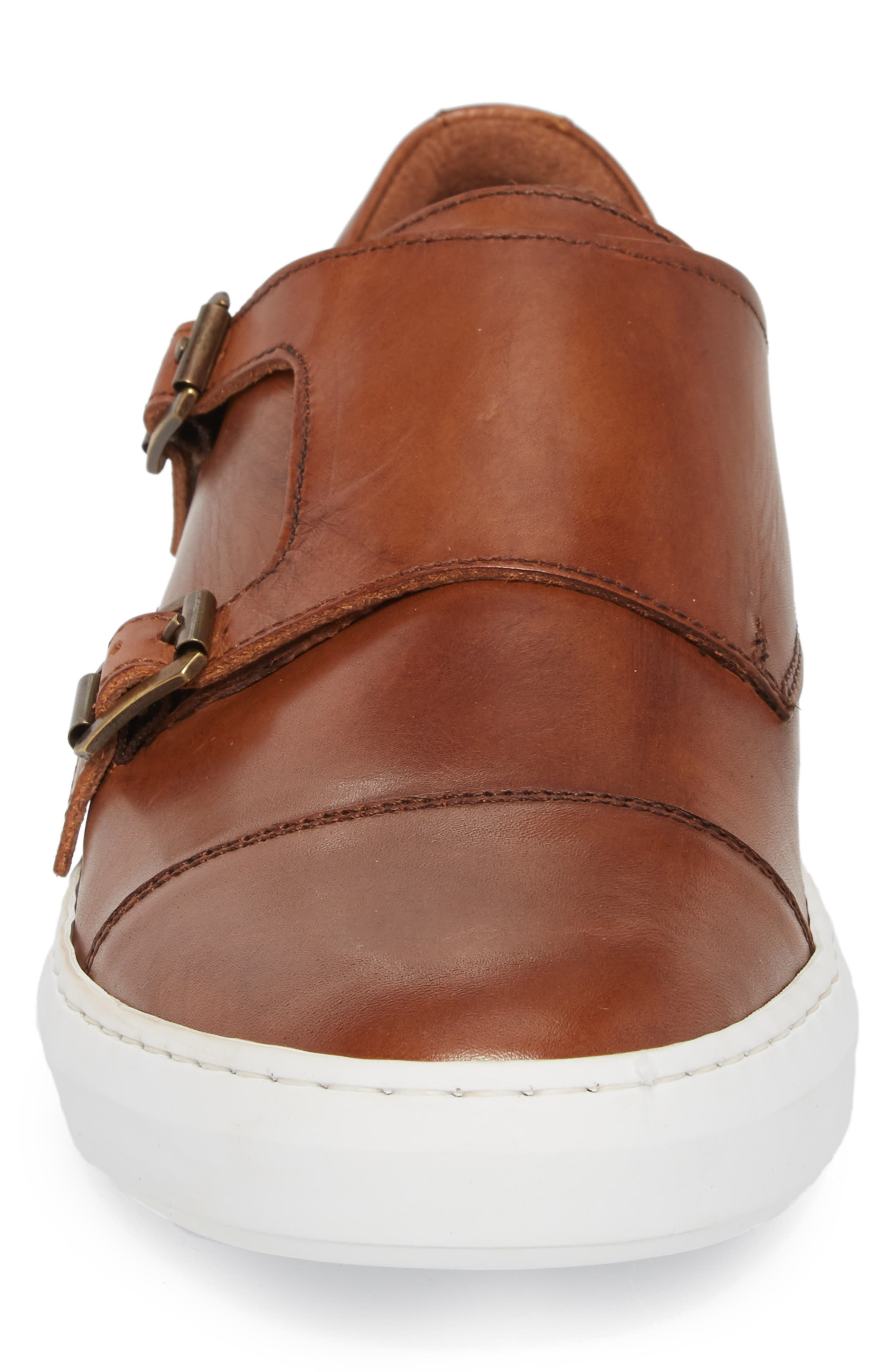 Whyle Double Strap Monk Sneaker,                             Alternate thumbnail 4, color,                             Cognac Leather