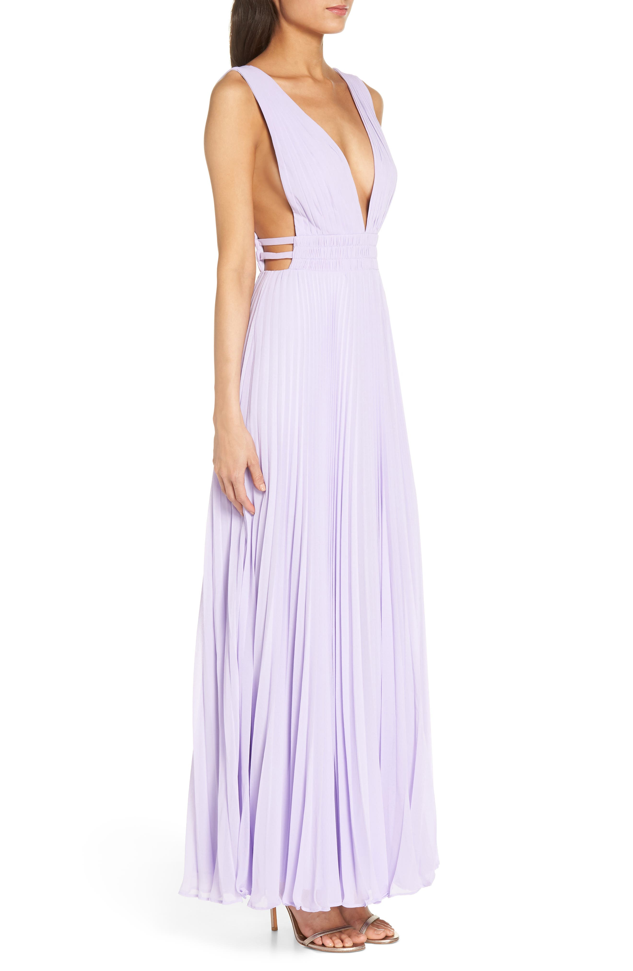 Fame & Partners The Peyton Pleated Gown,                             Alternate thumbnail 3, color,                             Lilac
