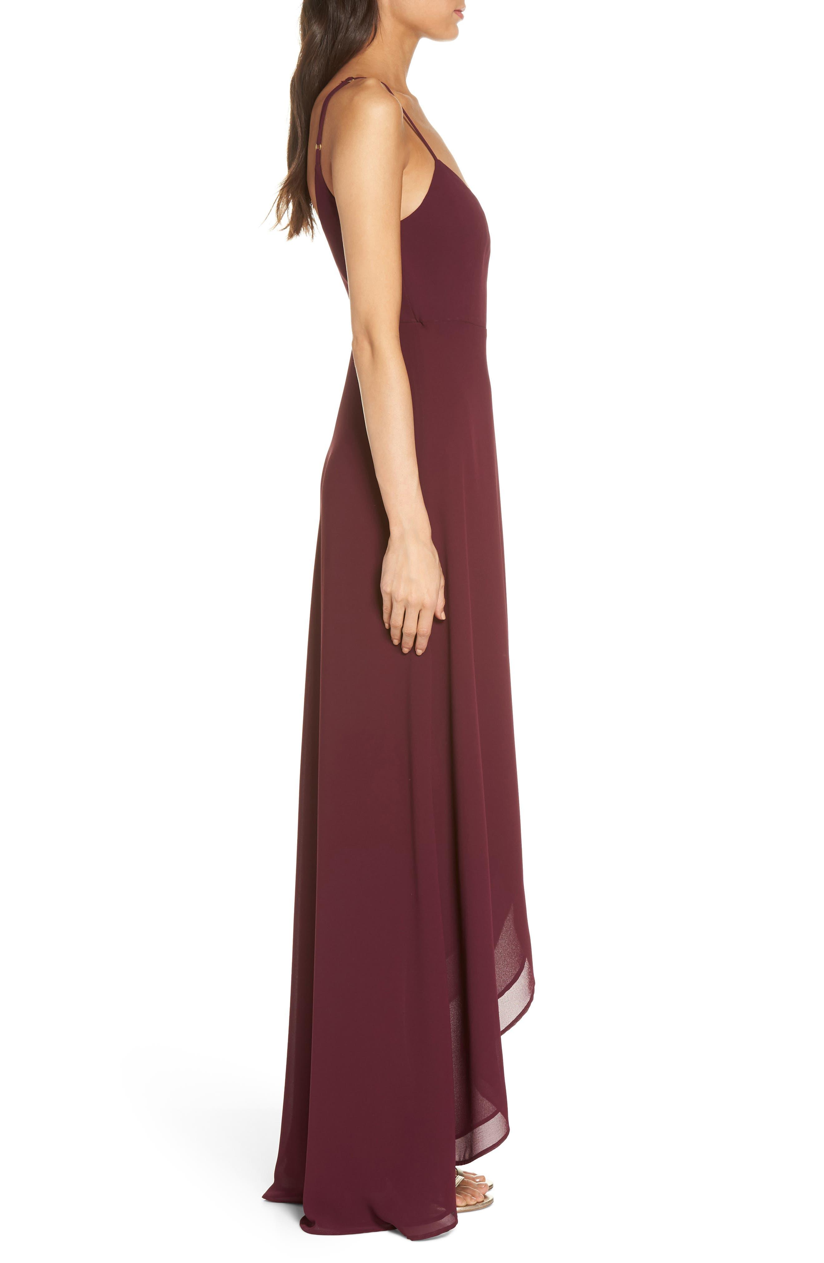 Mariah Wrap Maxi Dress,                             Alternate thumbnail 3, color,                             Merlot Chiffon