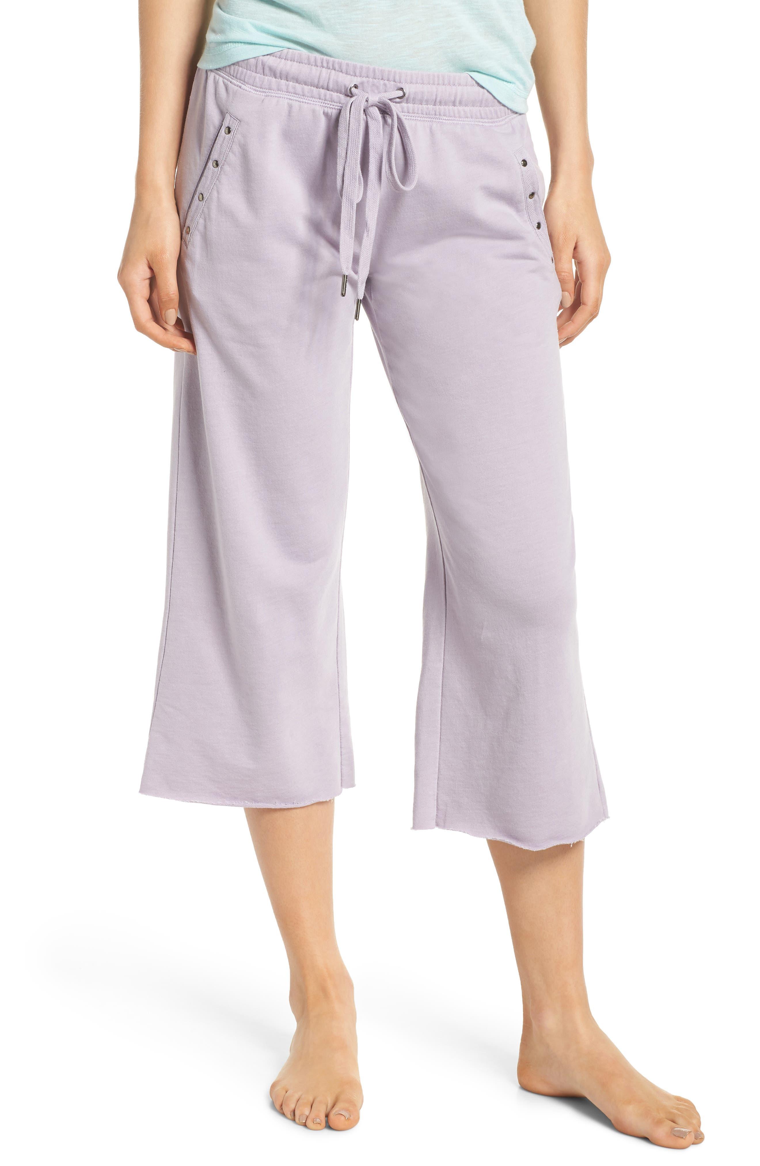Studded Crop Pajama Pants,                             Main thumbnail 1, color,                             Orchid