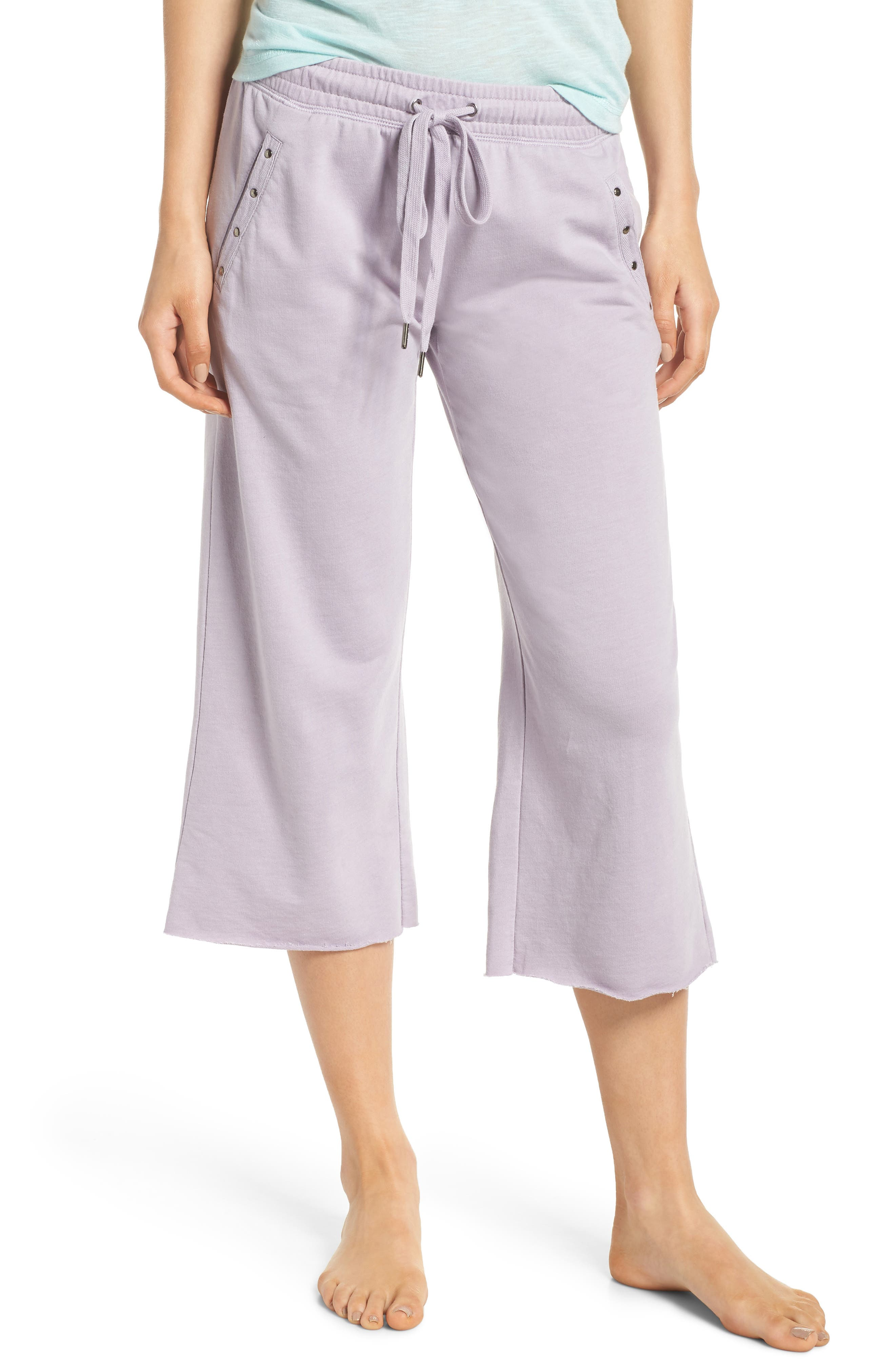 Studded Crop Pajama Pants,                         Main,                         color, Orchid