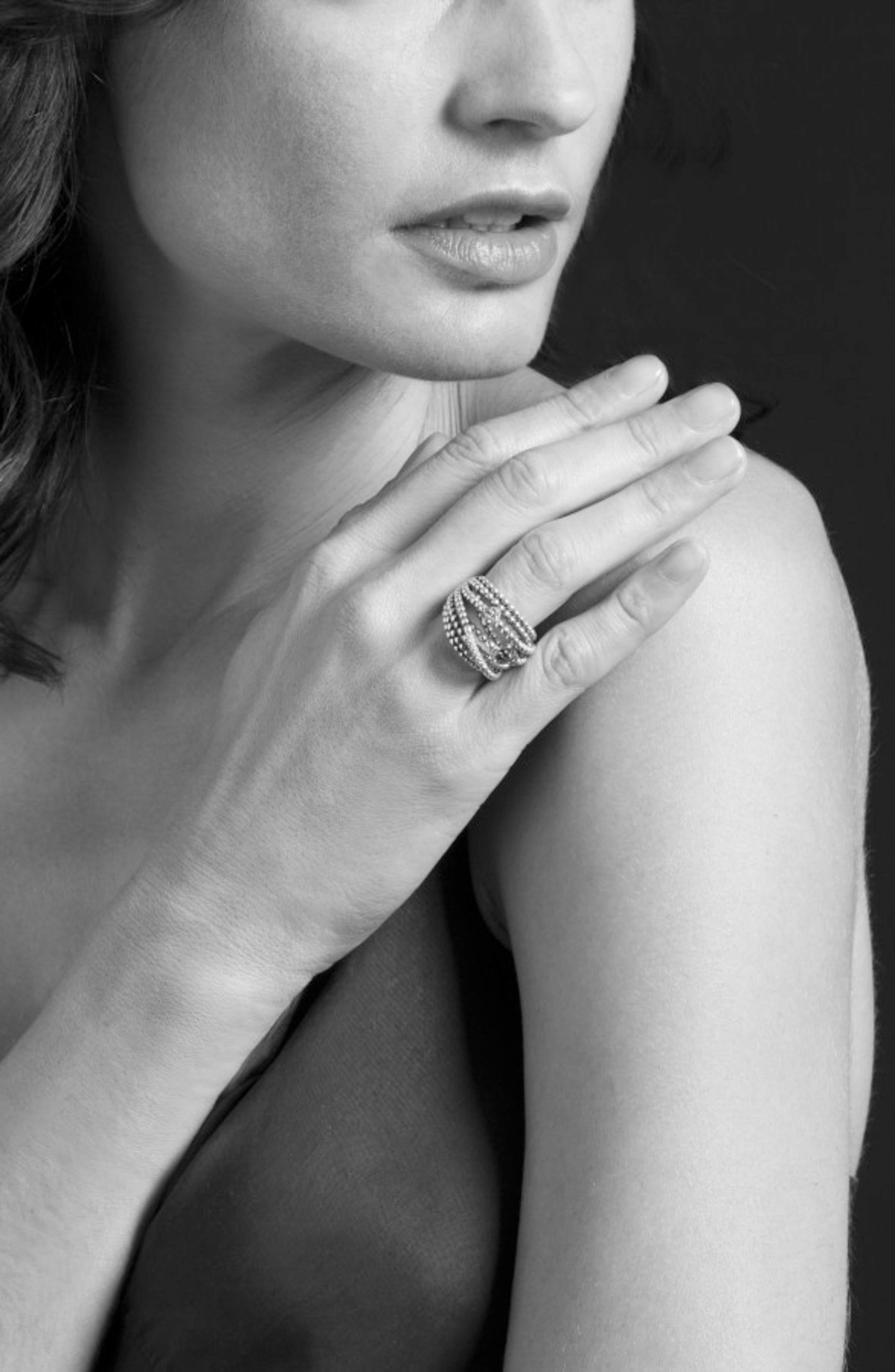 'Caviar Icon' Multi-Row Dome Ring,                             Alternate thumbnail 6, color,                             Silver/ Gold