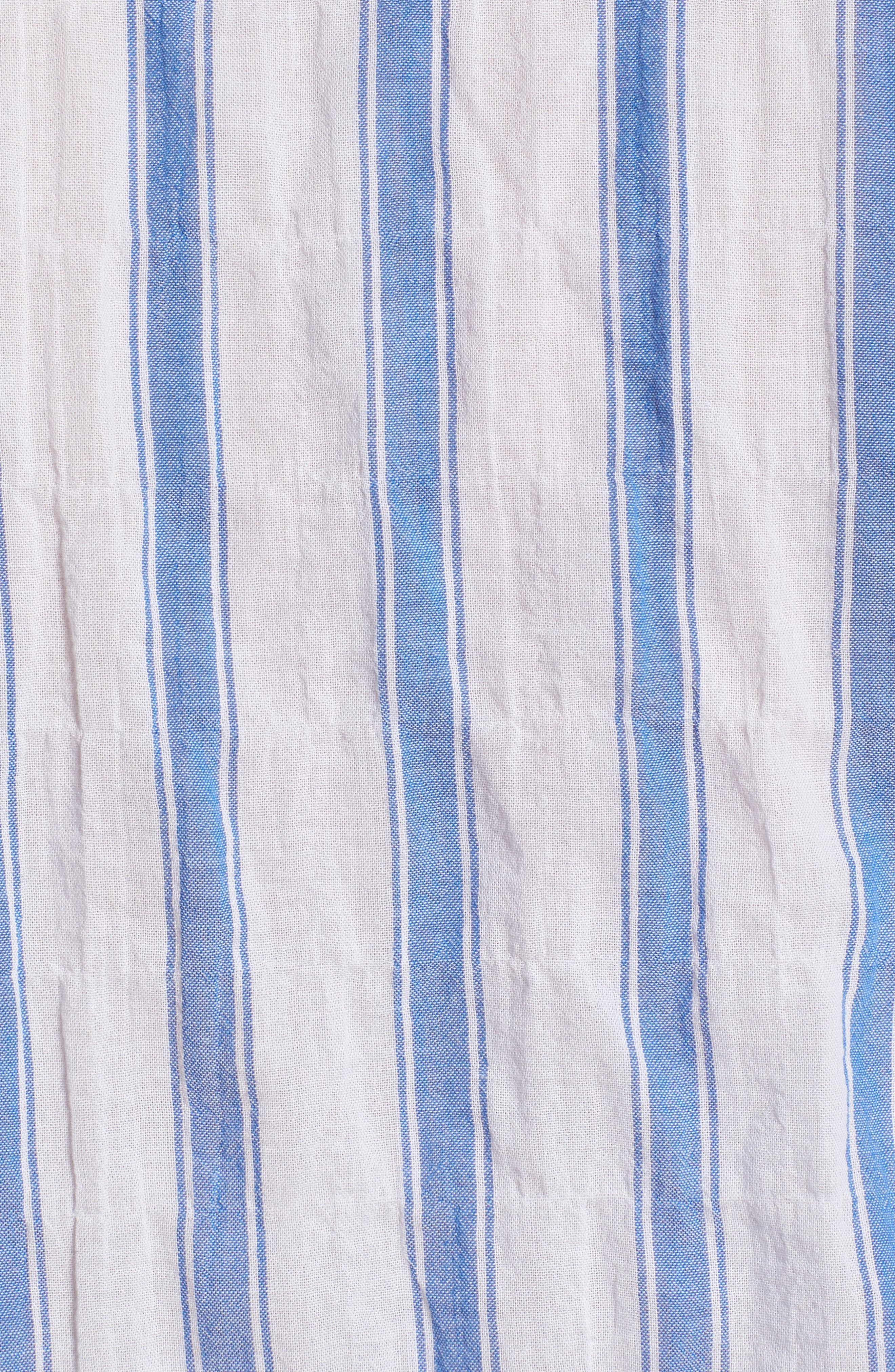 Beach Slim Fit Stripe Sport Shirt,                             Alternate thumbnail 5, color,                             Crinkle Polpis - Coast Azure