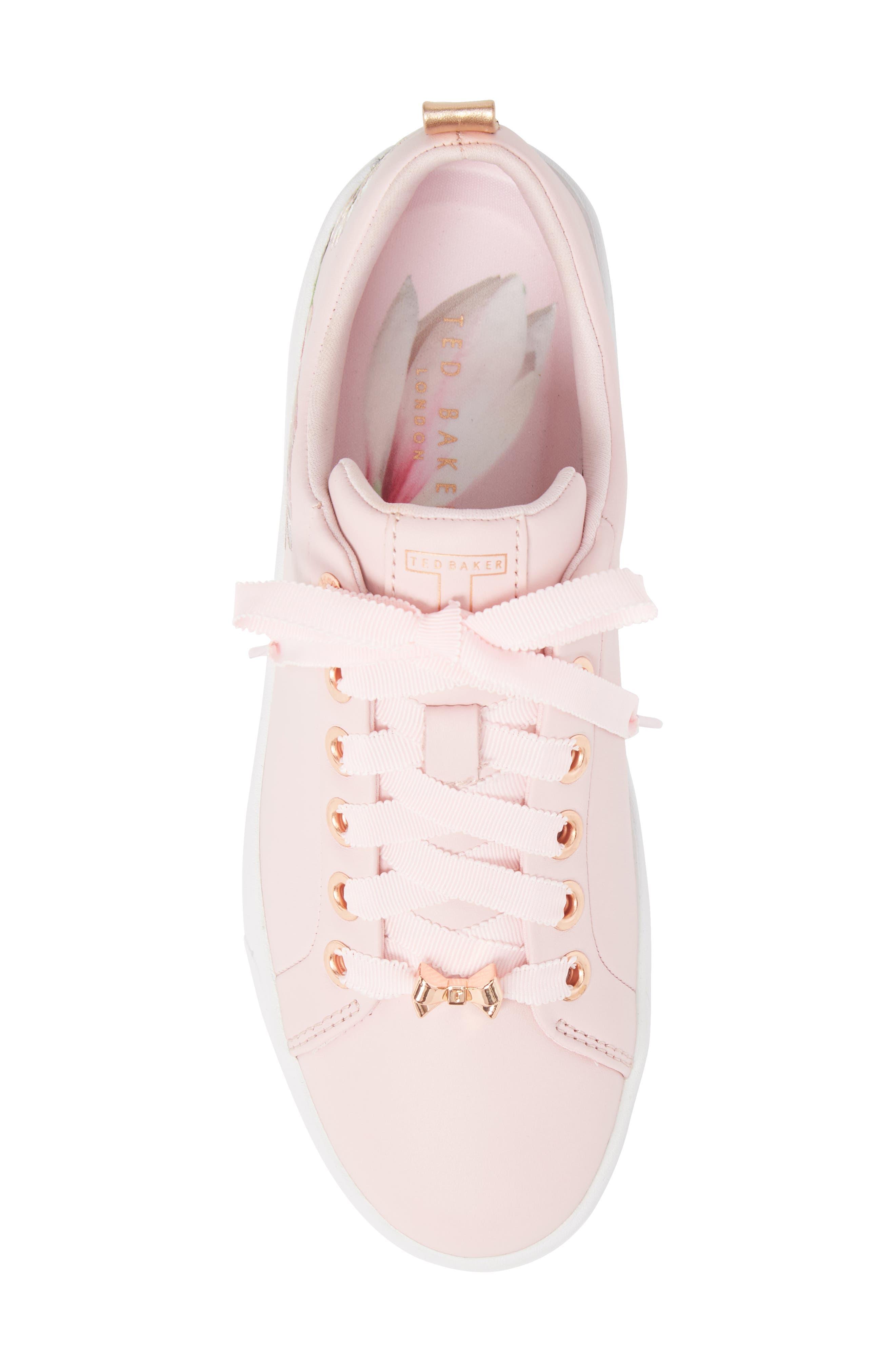 Kelleie Embroidered Sneaker,                             Alternate thumbnail 5, color,                             Mink Pink Leather