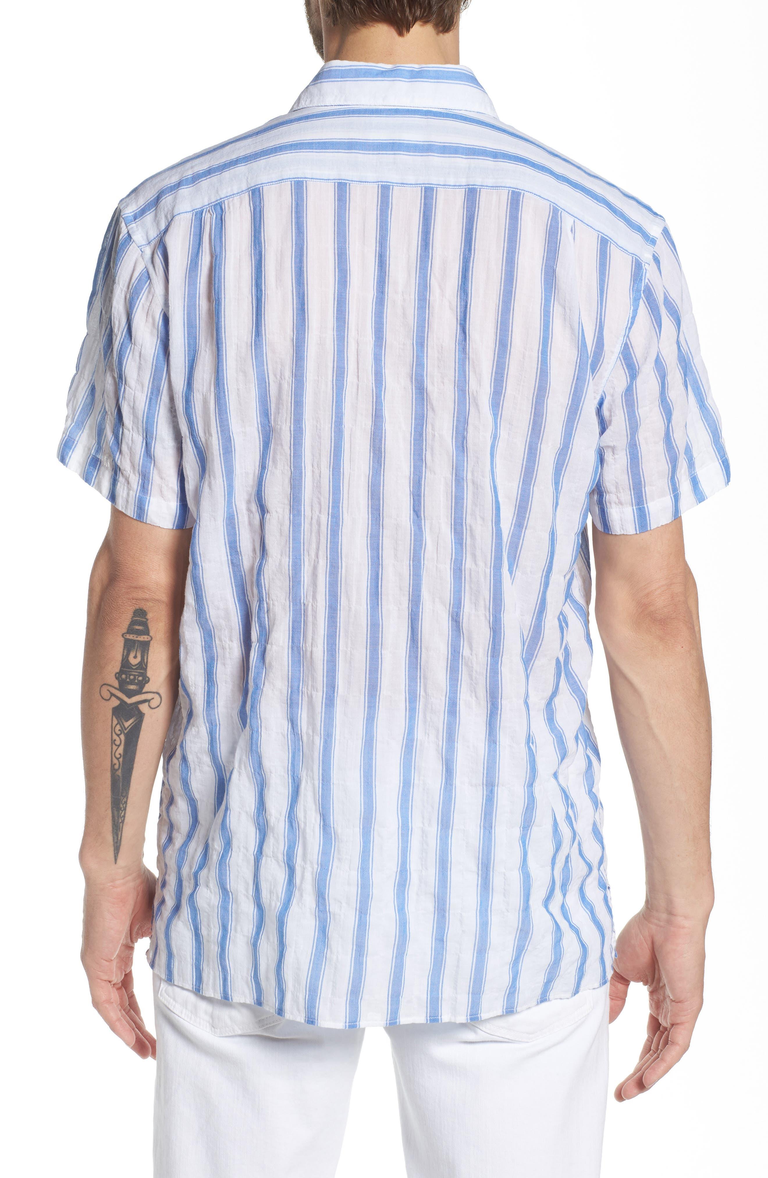 Beach Slim Fit Stripe Sport Shirt,                             Alternate thumbnail 3, color,                             Crinkle Polpis - Coast Azure