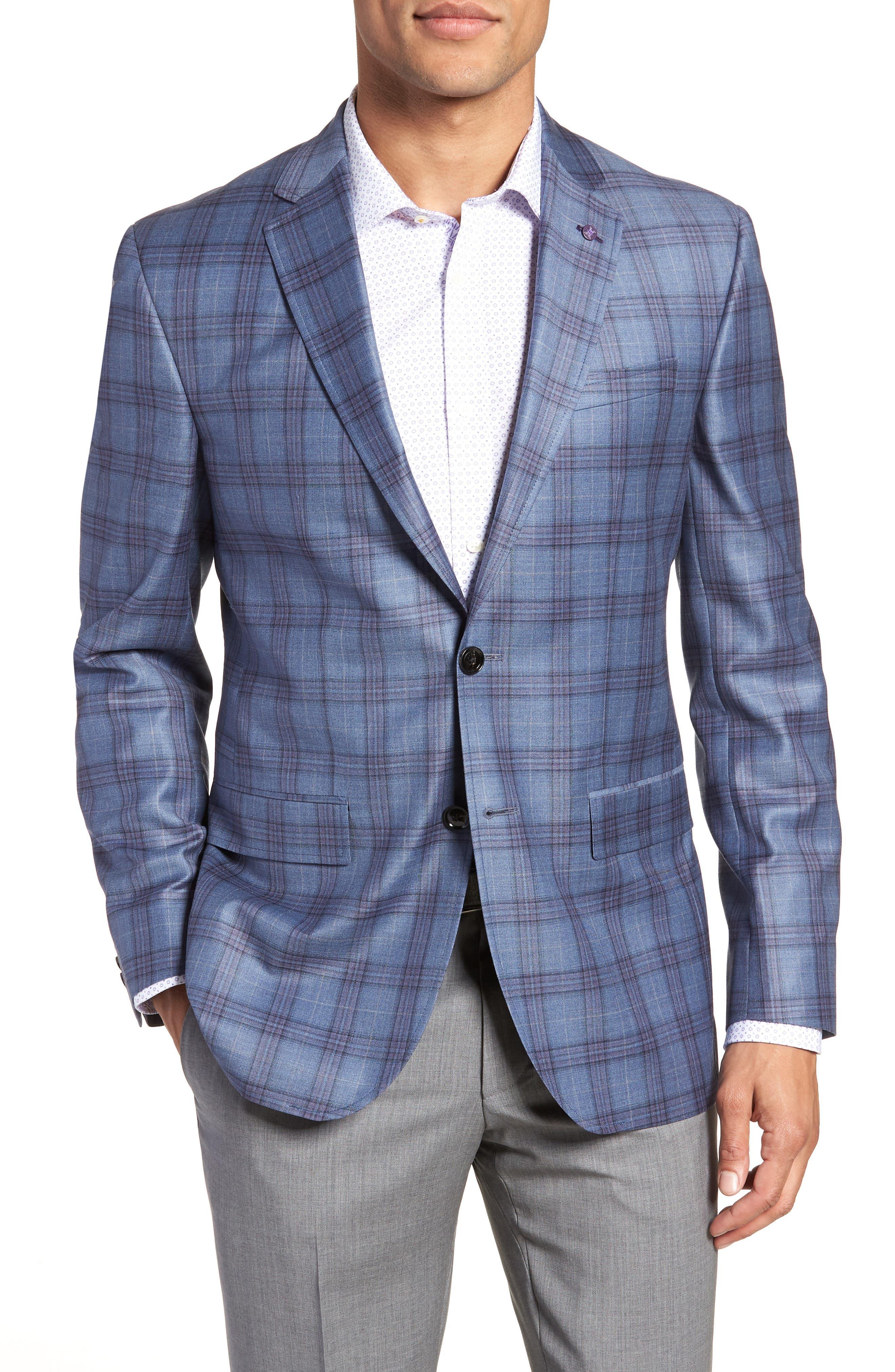 Jay Trim Fit Plaid Wool Sport Coat,                             Main thumbnail 1, color,                             Blue
