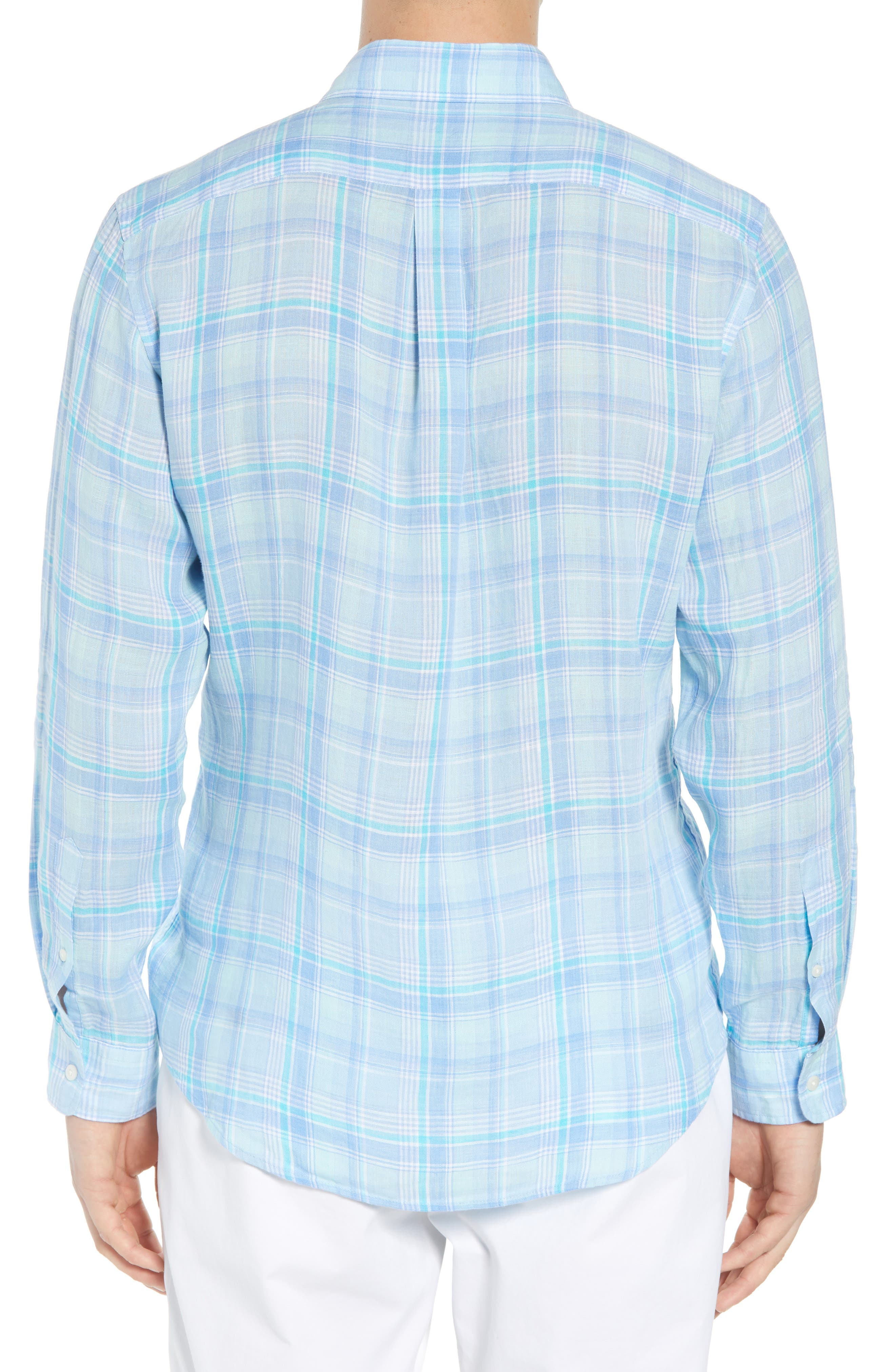 Moore's Island Classic Fit Plaid Sport Shirt,                             Alternate thumbnail 3, color,                             Baja Blue