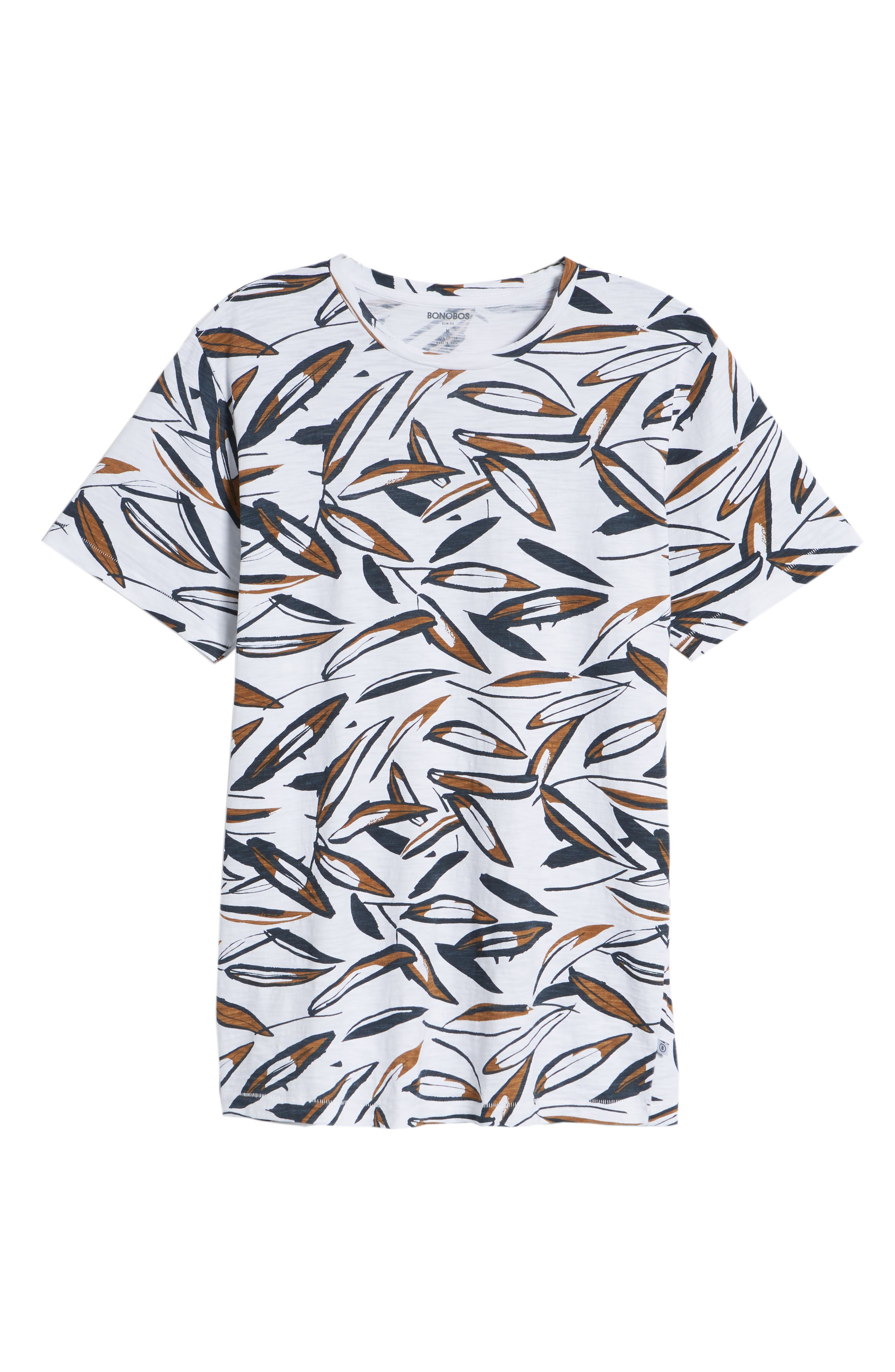 Leafy Arbour Slim Fit Heavyweight T-Shirt,                             Alternate thumbnail 6, color,                             White/ Navy/ Brown Sugar