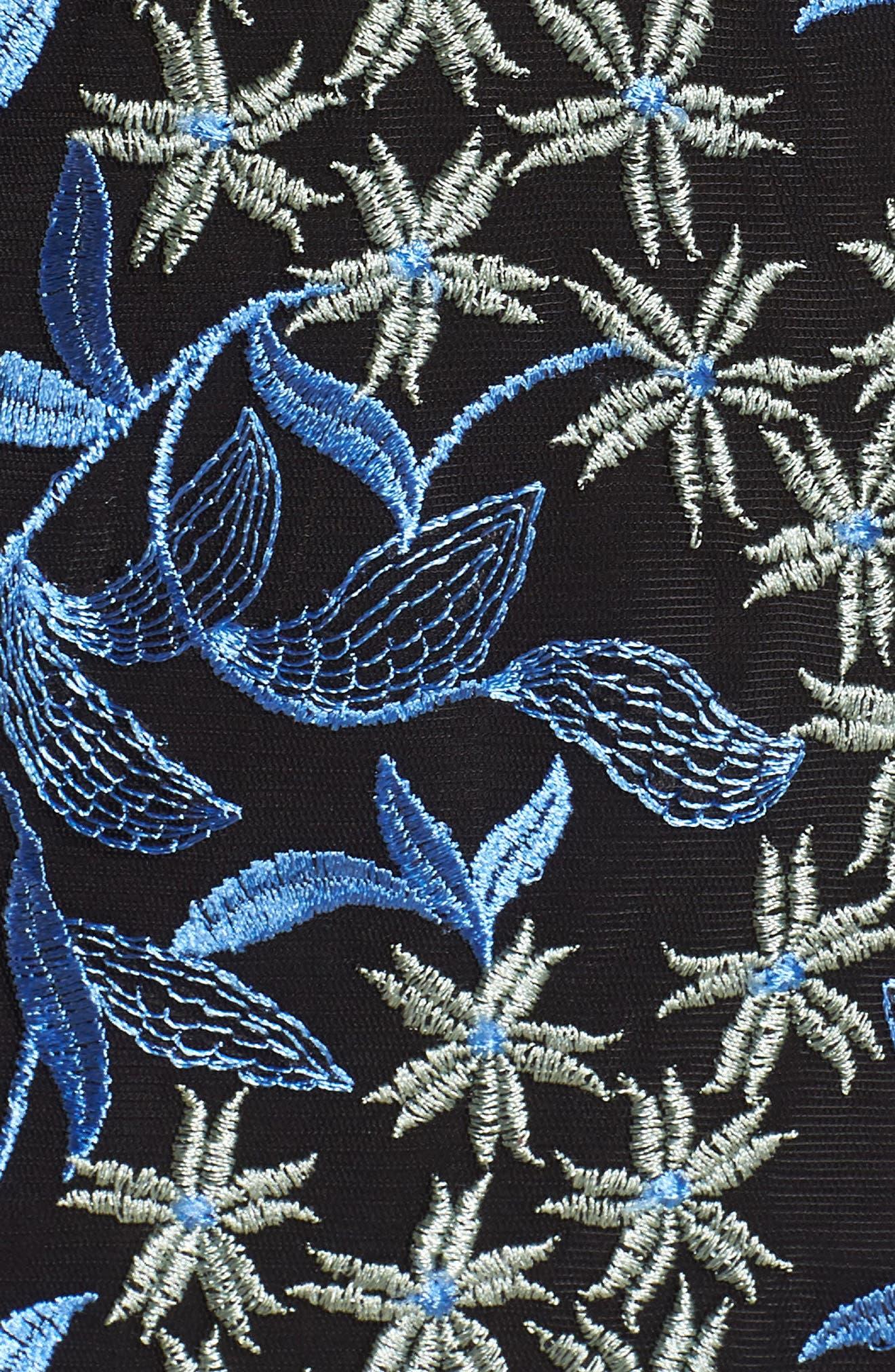Floral Embroidered Cold Shoulder Dress,                             Alternate thumbnail 6, color,                             Blue/ Green