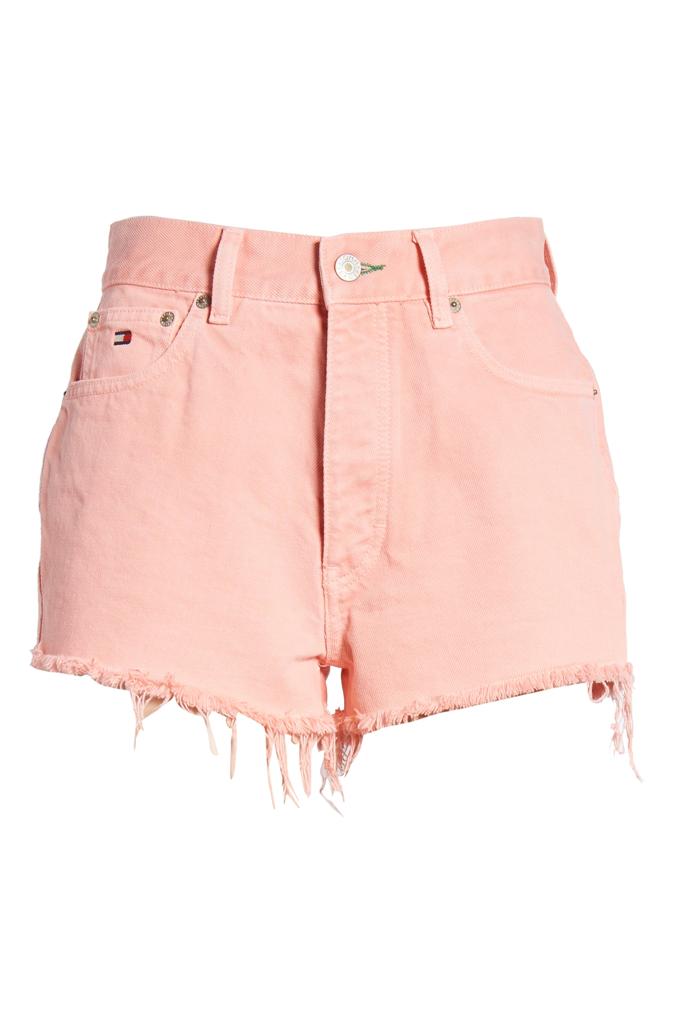 Fray Hem Denim Shorts,                             Alternate thumbnail 7, color,                             Quartz Pink