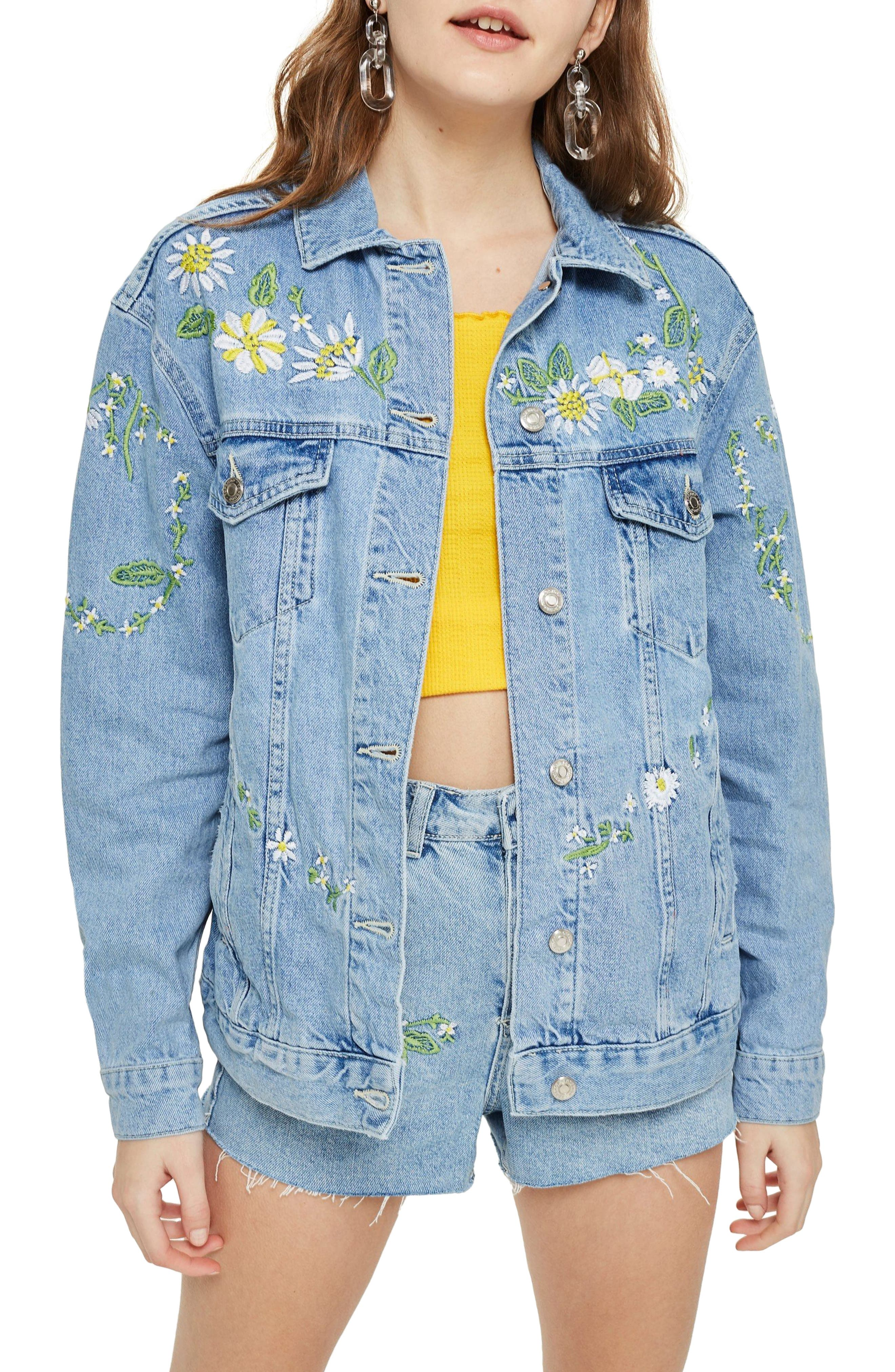 Love Me Not Embroidered Denim Jacket,                             Main thumbnail 1, color,                             Mid Denim Multi