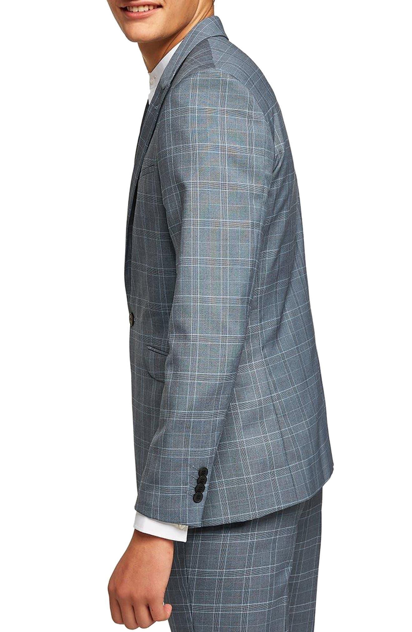 Skinny Fit Check Suit Jacket,                             Alternate thumbnail 2, color,                             Blue Multi