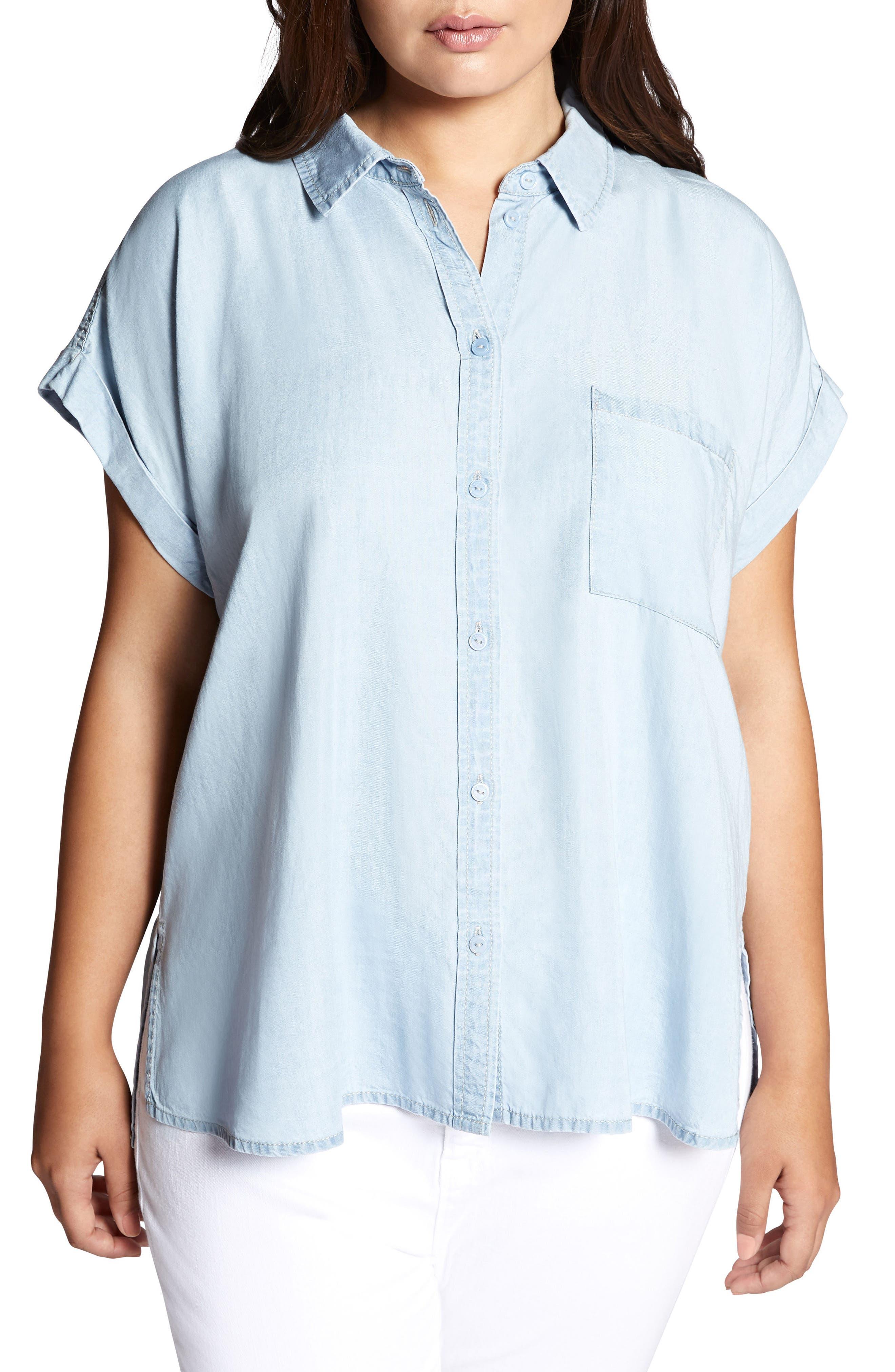 Mod Short Sleeve Boyfriend Shirt,                         Main,                         color, Kaskade Wash