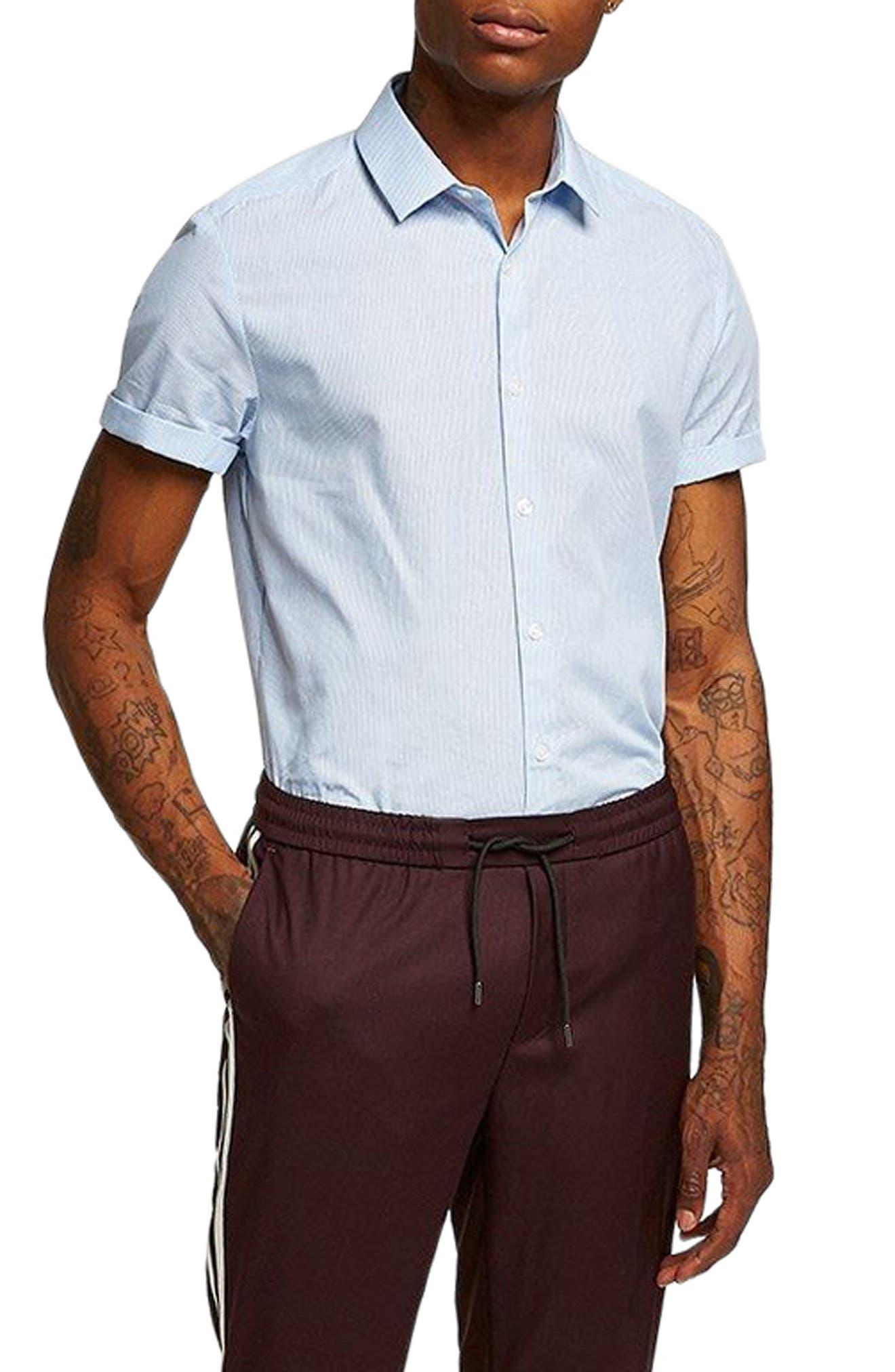 Slim Fit Stripe Shirt,                             Main thumbnail 1, color,                             Blue Bulti
