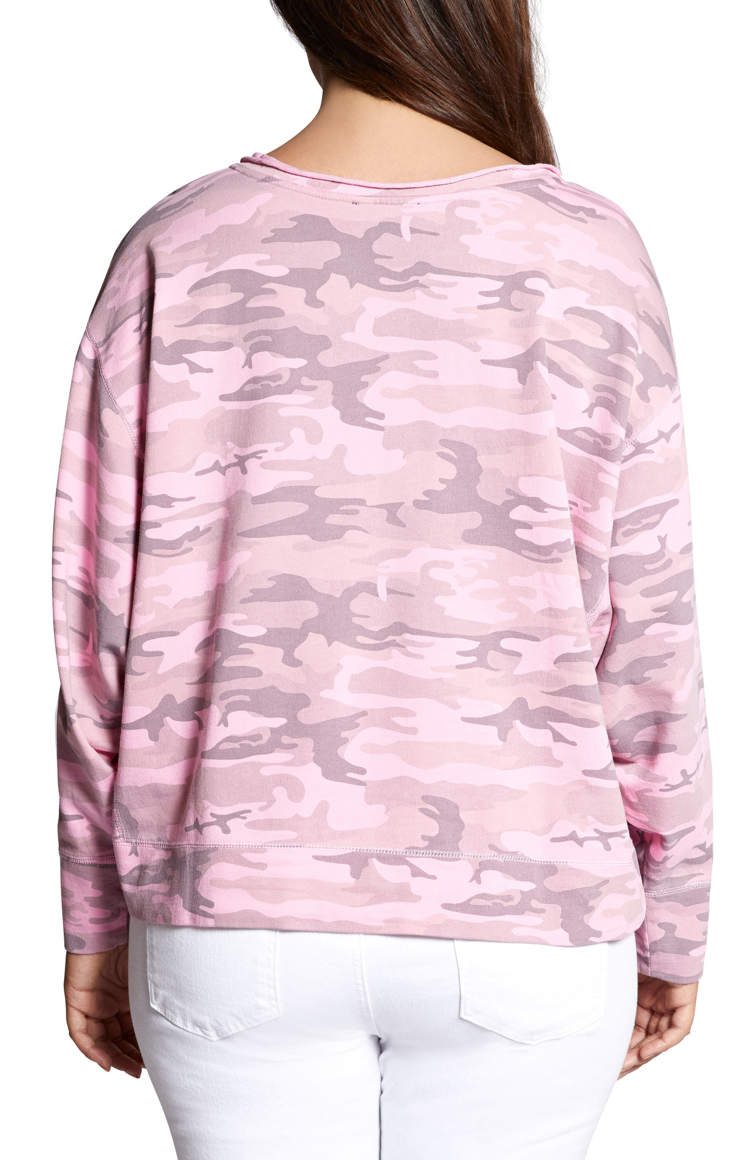 Breslin Split Neck Sweatshirt,                             Alternate thumbnail 3, color,                             Wild Cherry Camo