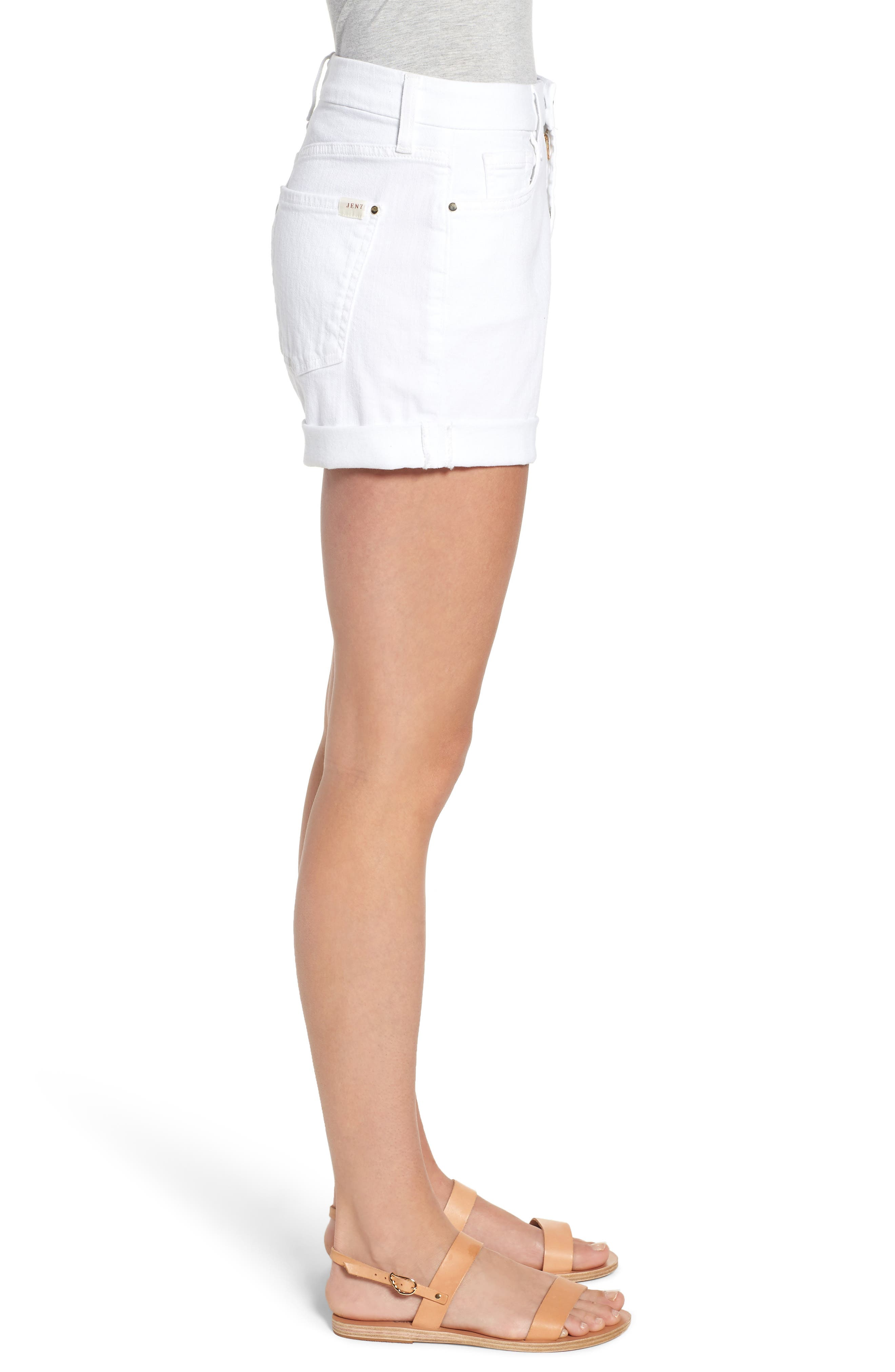 Rolled Denim Shorts,                             Alternate thumbnail 3, color,                             White