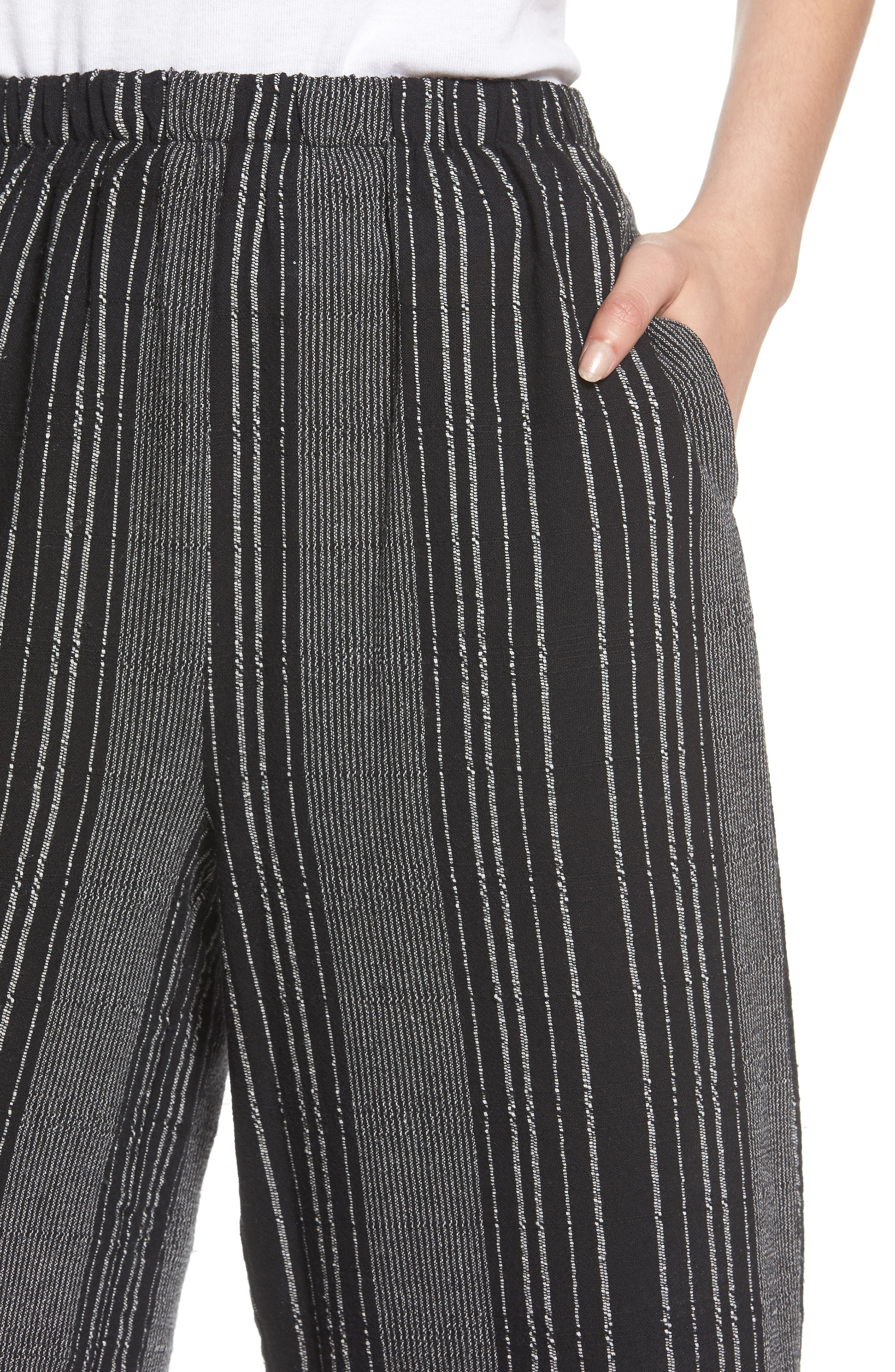 Bella Stripe Crop Pants,                             Alternate thumbnail 6, color,                             Black