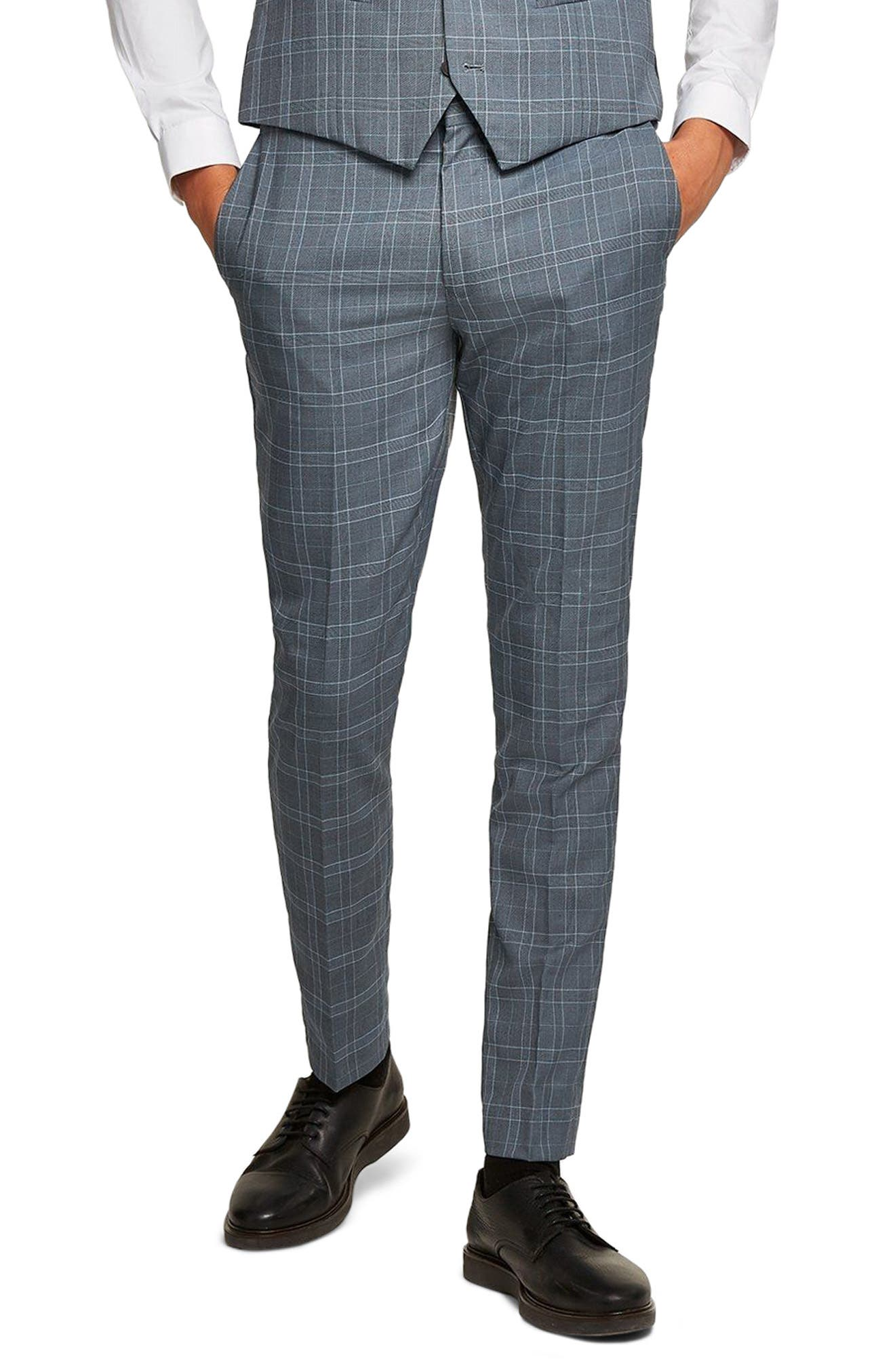 Check Skinny Fit Suit Trousers,                         Main,                         color, Blue Multi