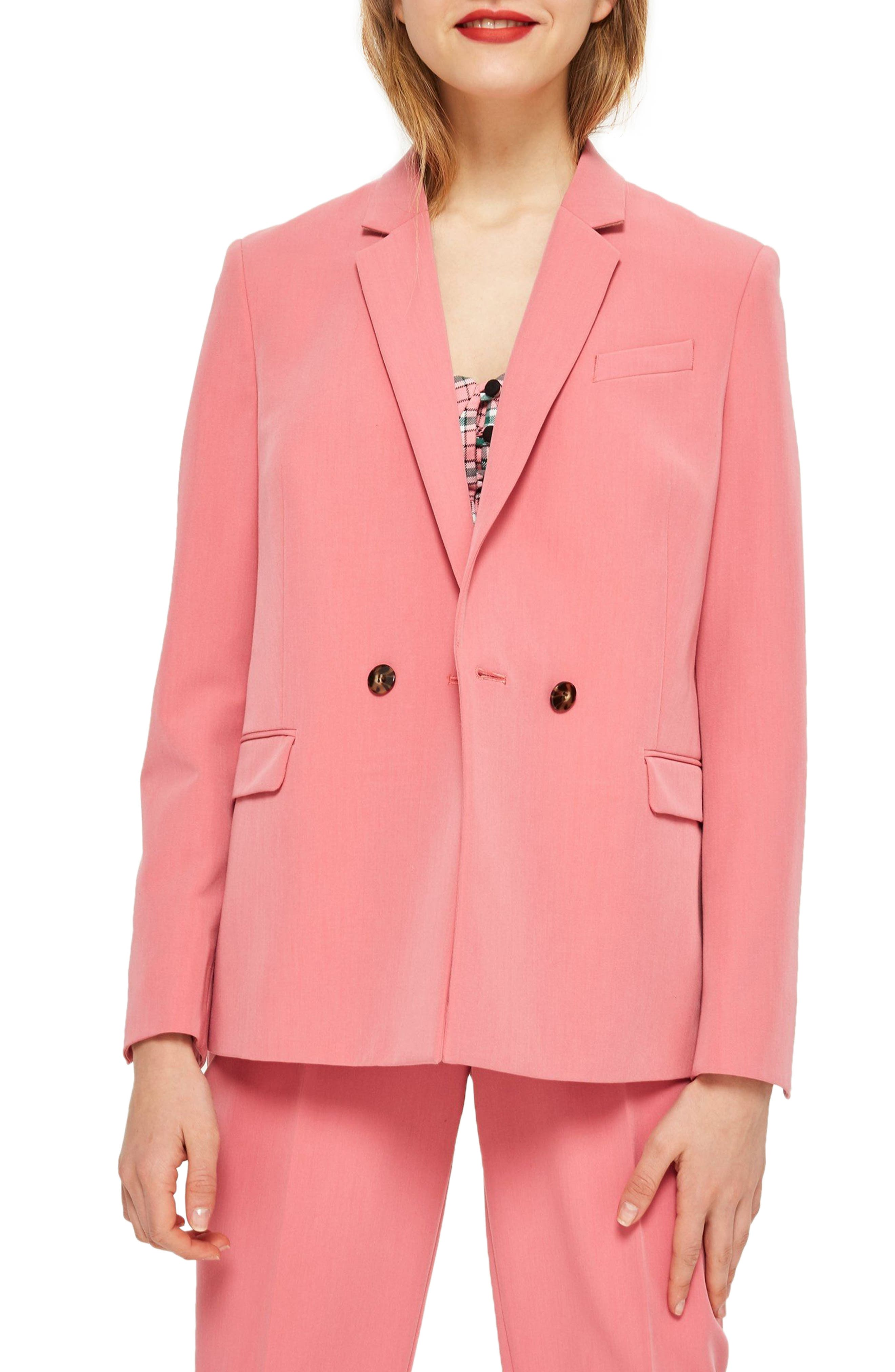 Longline Double Breasted Button Suit Jacket,                             Main thumbnail 1, color,                             Pink