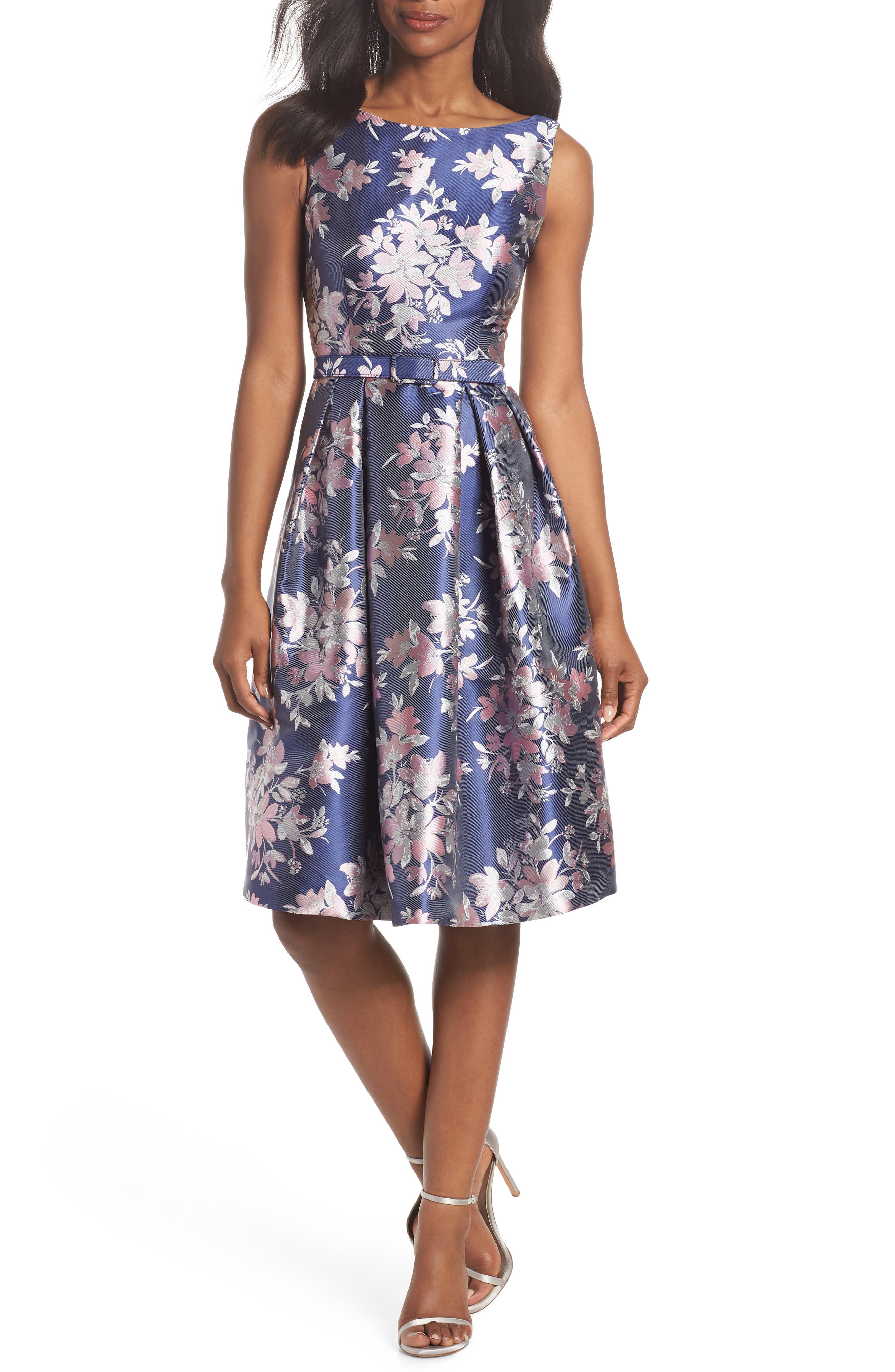 Floral Jacquard Fit & Flare Dress,                         Main,                         color, Navy
