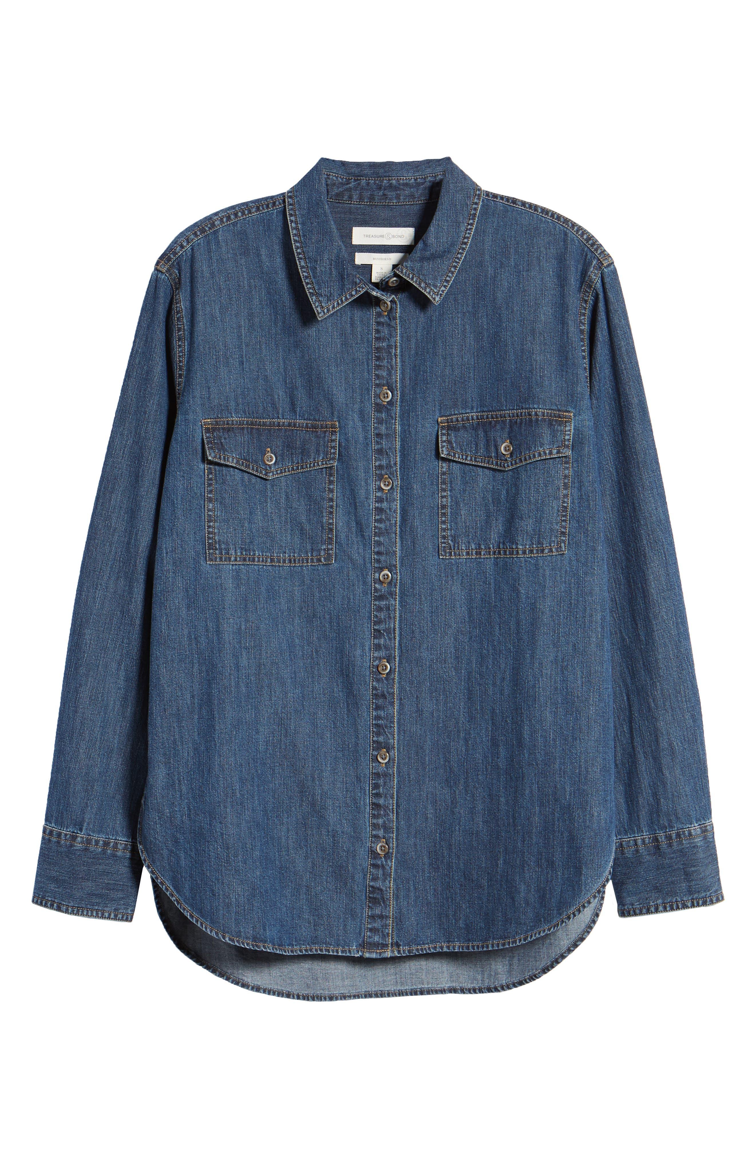 Denim Boyfriend Shirt,                             Alternate thumbnail 6, color,                             Mineral Medium Clean