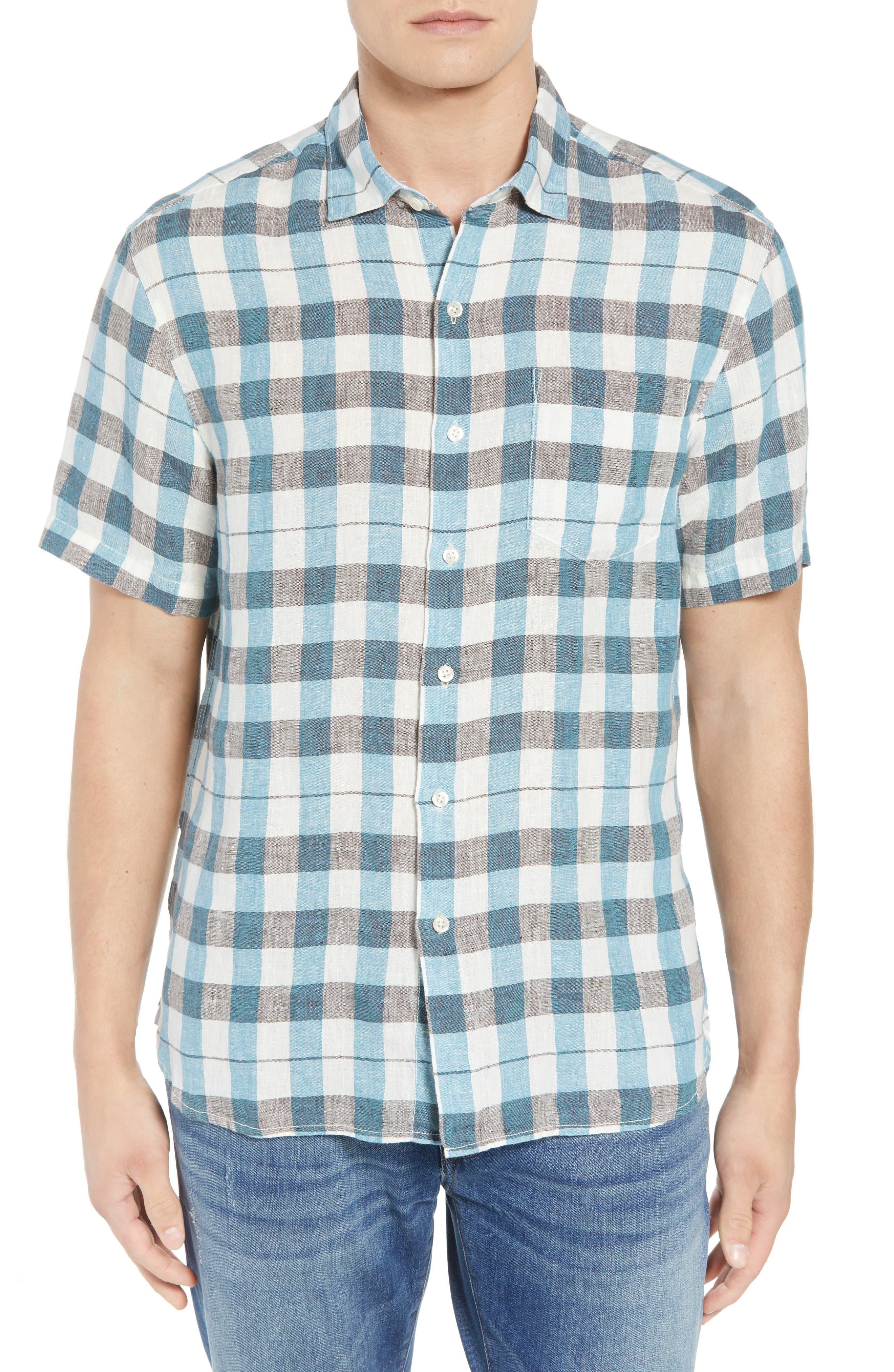 La Grande Gingham Linen Sport Shirt,                         Main,                         color, Cobalt Sea