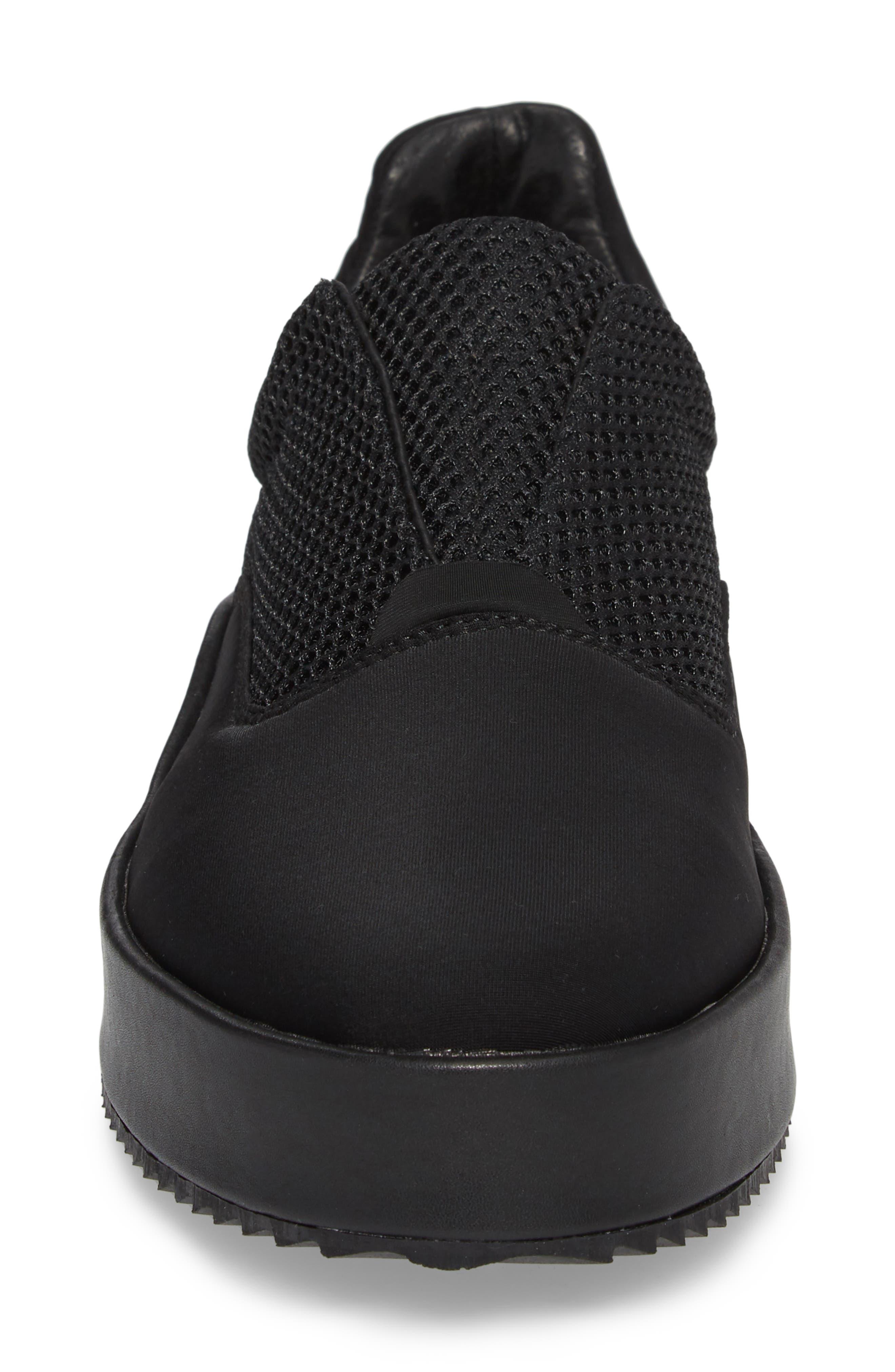 Core Neoprene Skater Laceless Sneaker,                             Alternate thumbnail 4, color,                             Black Neoprene Fabric
