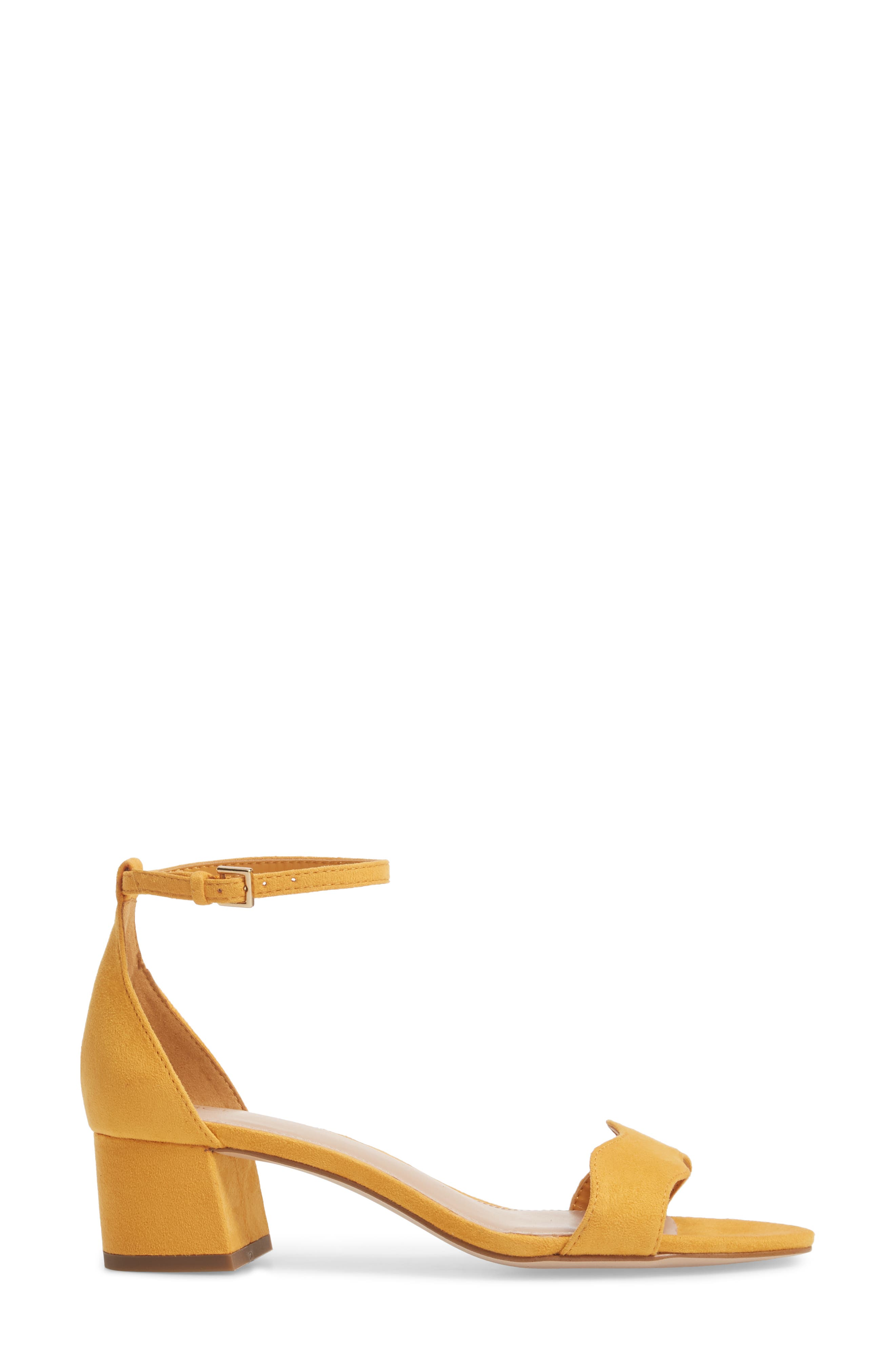 Farlyn Ankle Strap Sandal,                             Alternate thumbnail 3, color,                             Marigold Faux Leather